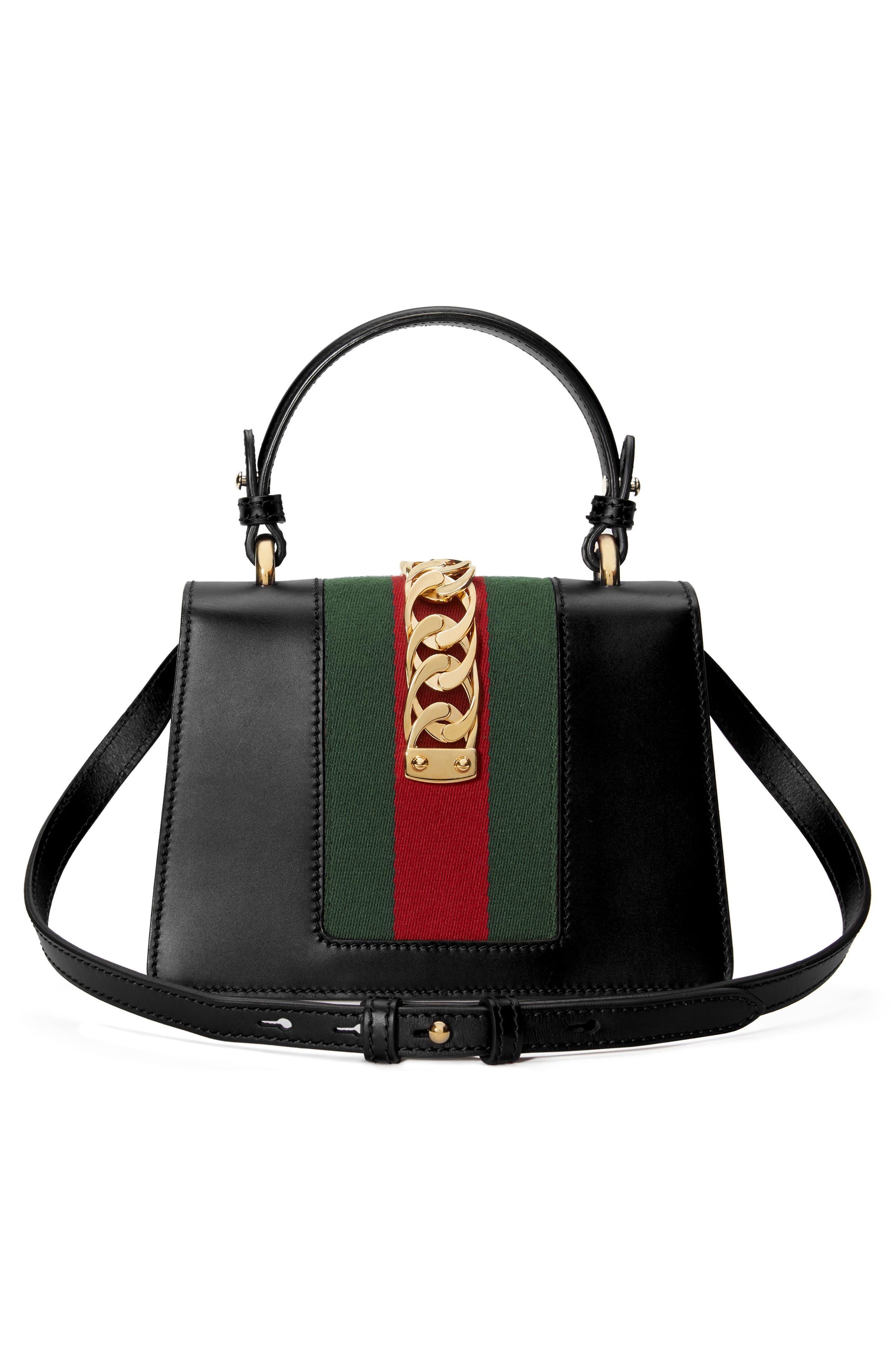 Mini Sylvie Top Handle Leather Shoulder Bag,                             Alternate thumbnail 3, color,                             8639 NERO/VRV