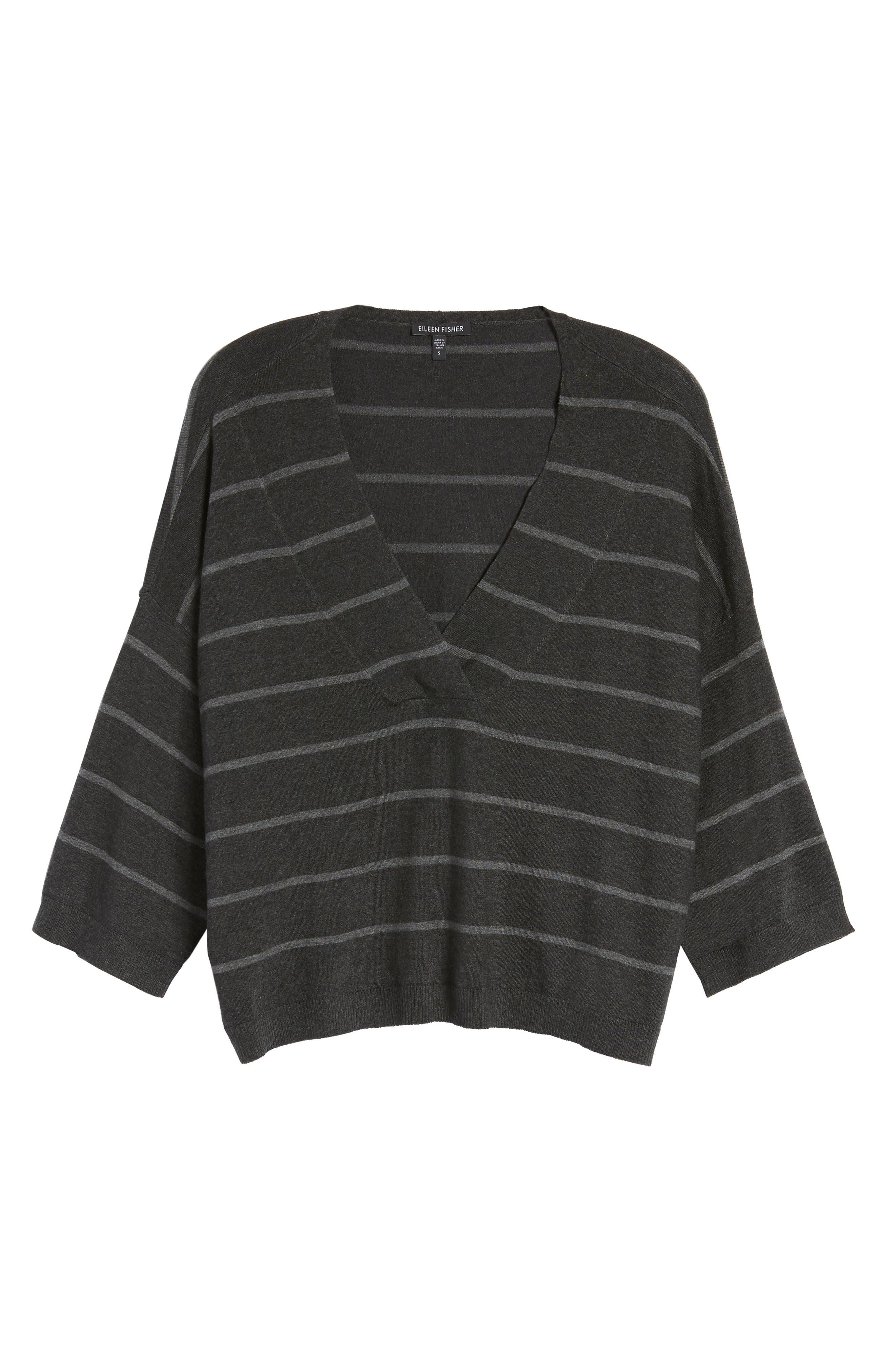 Stripe Tencel<sup>®</sup> Blend Crop Sweater,                             Alternate thumbnail 6, color,                             064