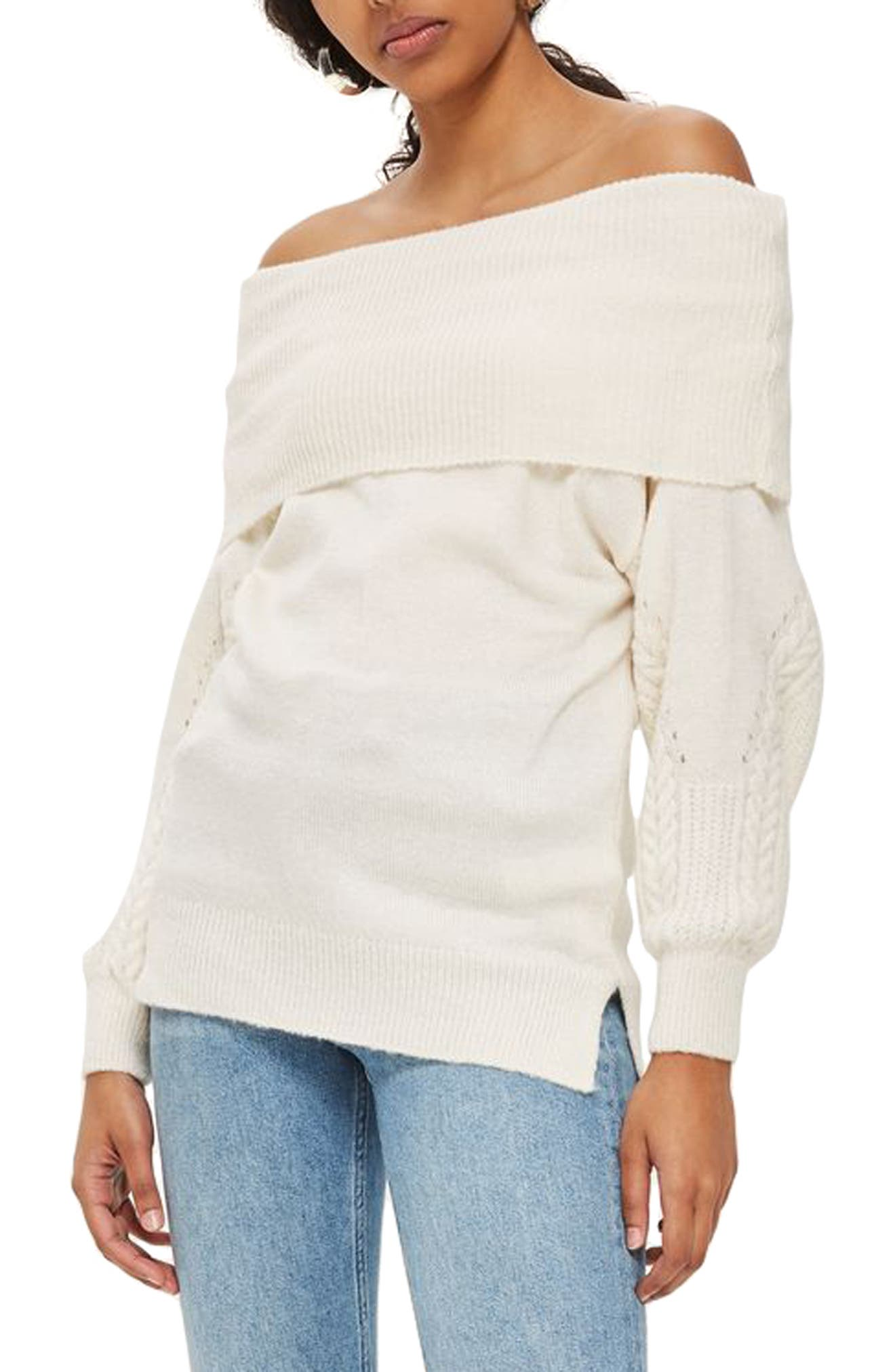 Balloon Sleeve Off the Shoulder Sweater,                             Main thumbnail 1, color,                             251