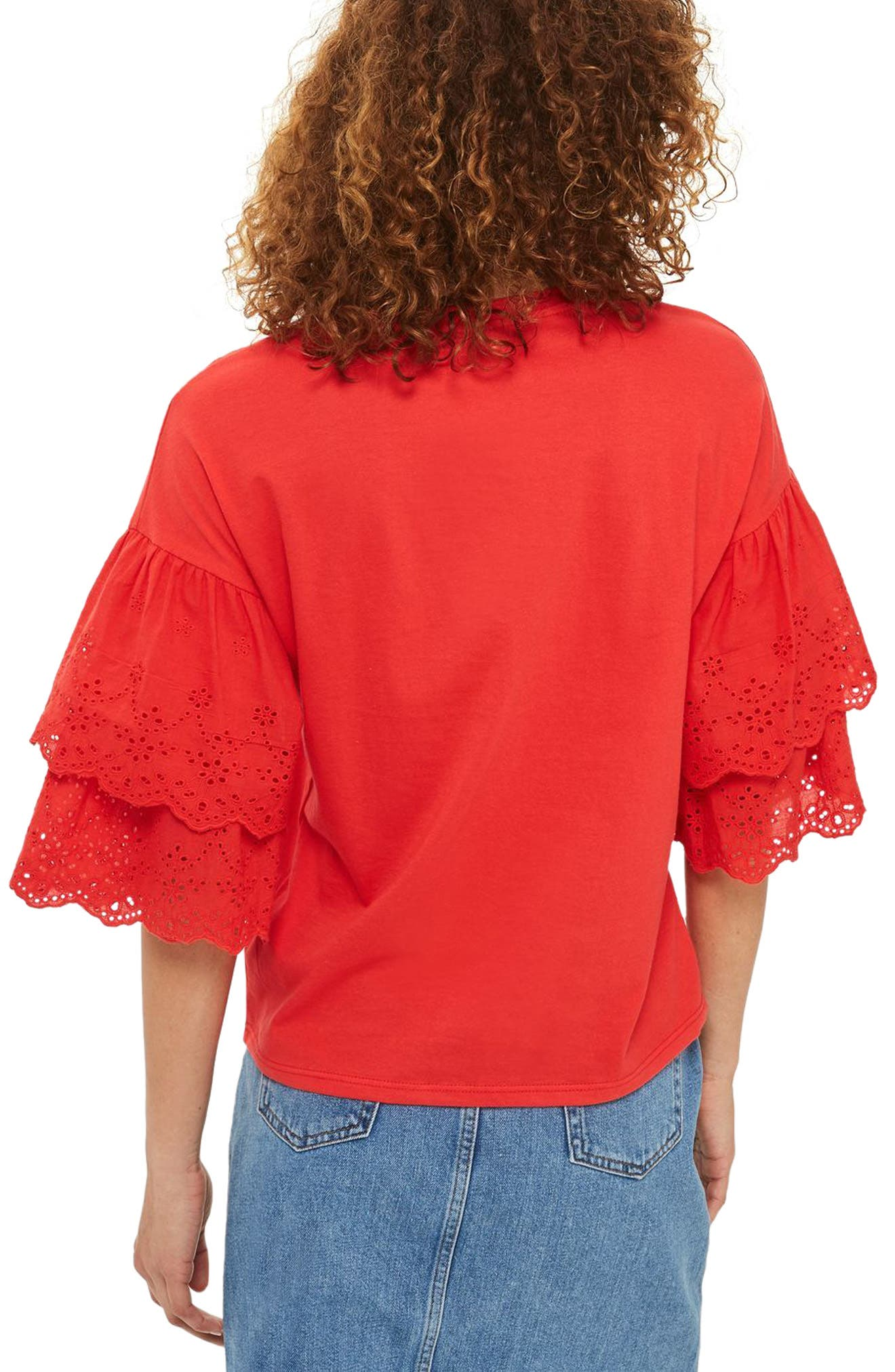 Eyelet Layer Sleeve Tee T-Shirt,                             Alternate thumbnail 6, color,