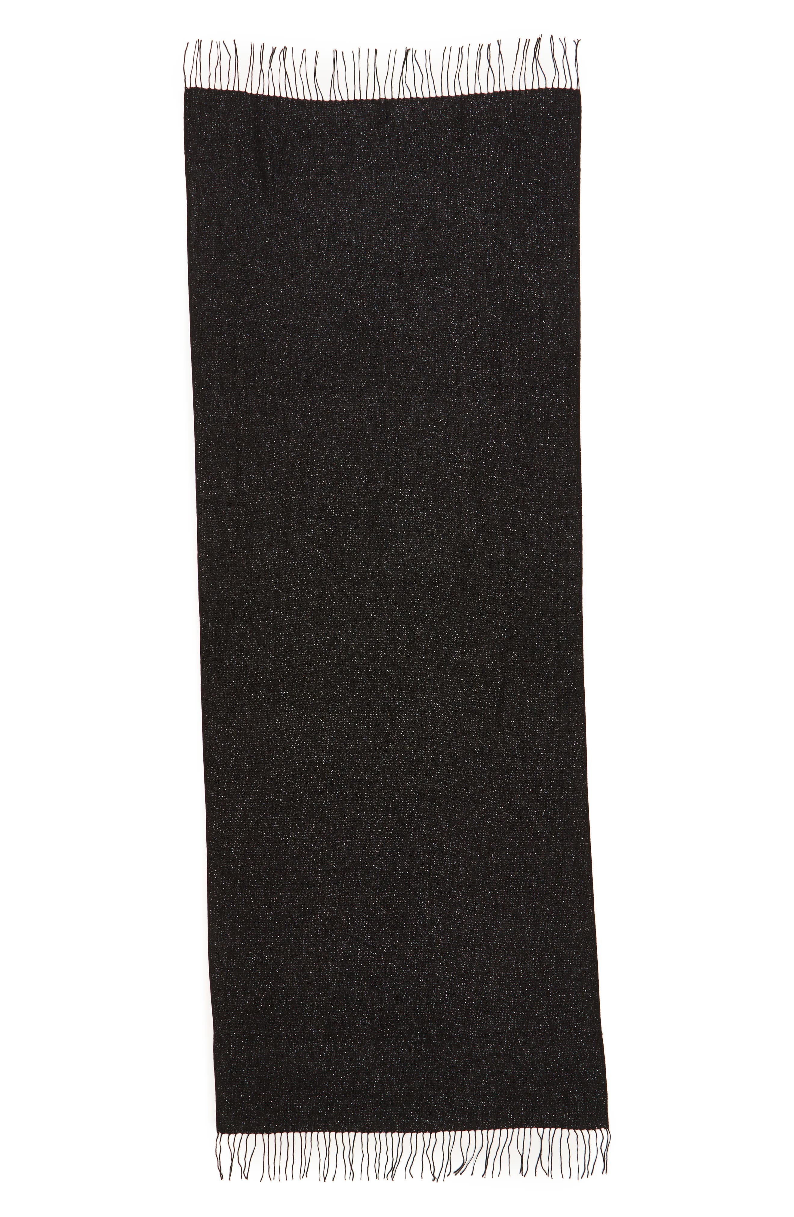 Metallic Wool Blend Scarf,                             Alternate thumbnail 3, color,                             BLACK COMBO