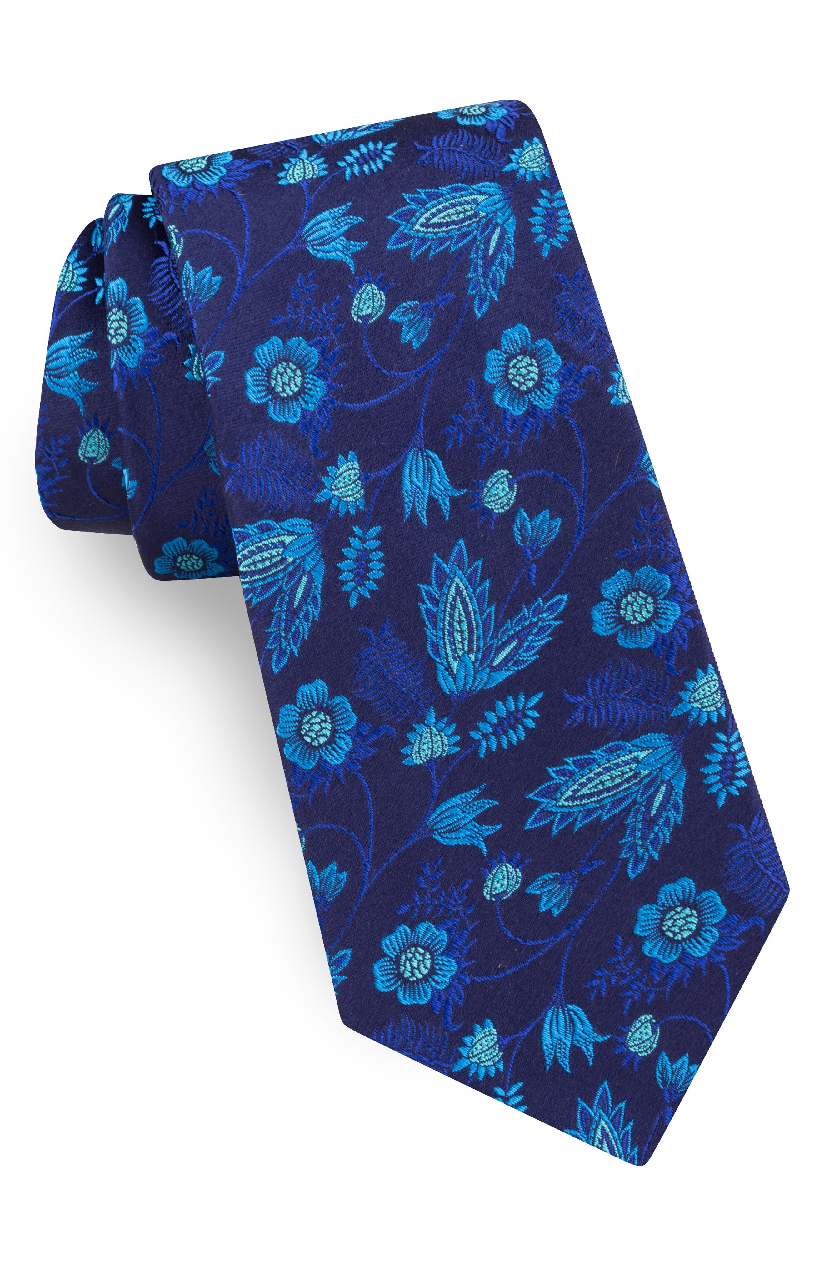 Floral Silk Tie,                             Main thumbnail 1, color,                             AQUA/ TEAL