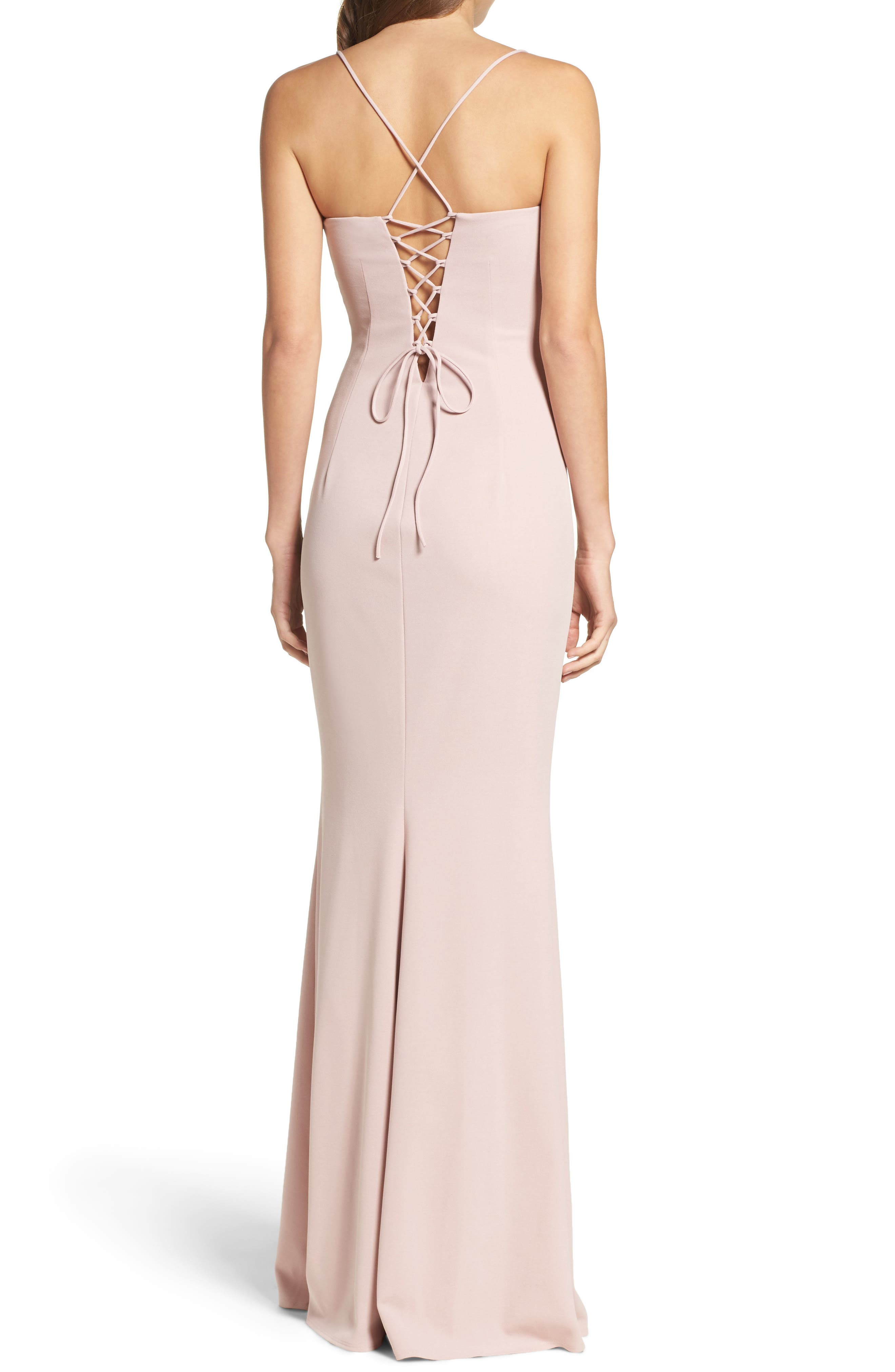 Jean Stretch Crepe Gown,                             Alternate thumbnail 3, color,