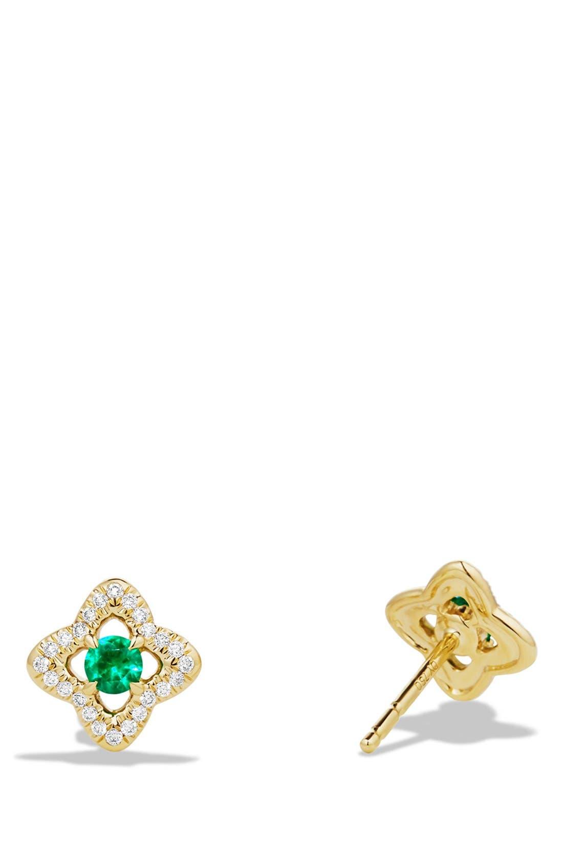 'Venetian Quatrefoil' Earrings with Precious Stones and Diamonds in 18K Gold,                             Alternate thumbnail 3, color,                             EMERALD