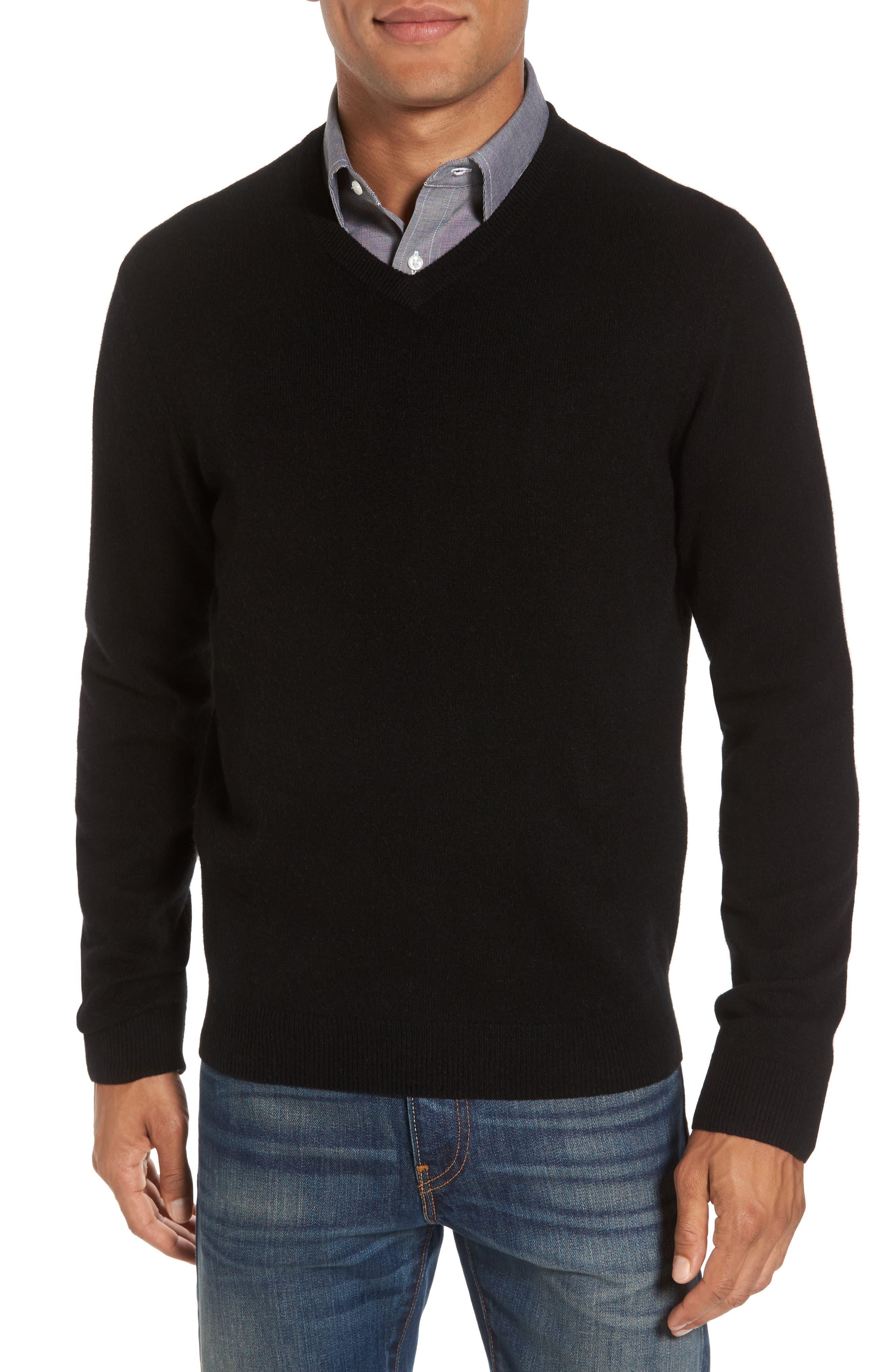NORDSTROM MEN'S SHOP Cashmere V-Neck Sweater, Main, color, BLACK CAVIAR