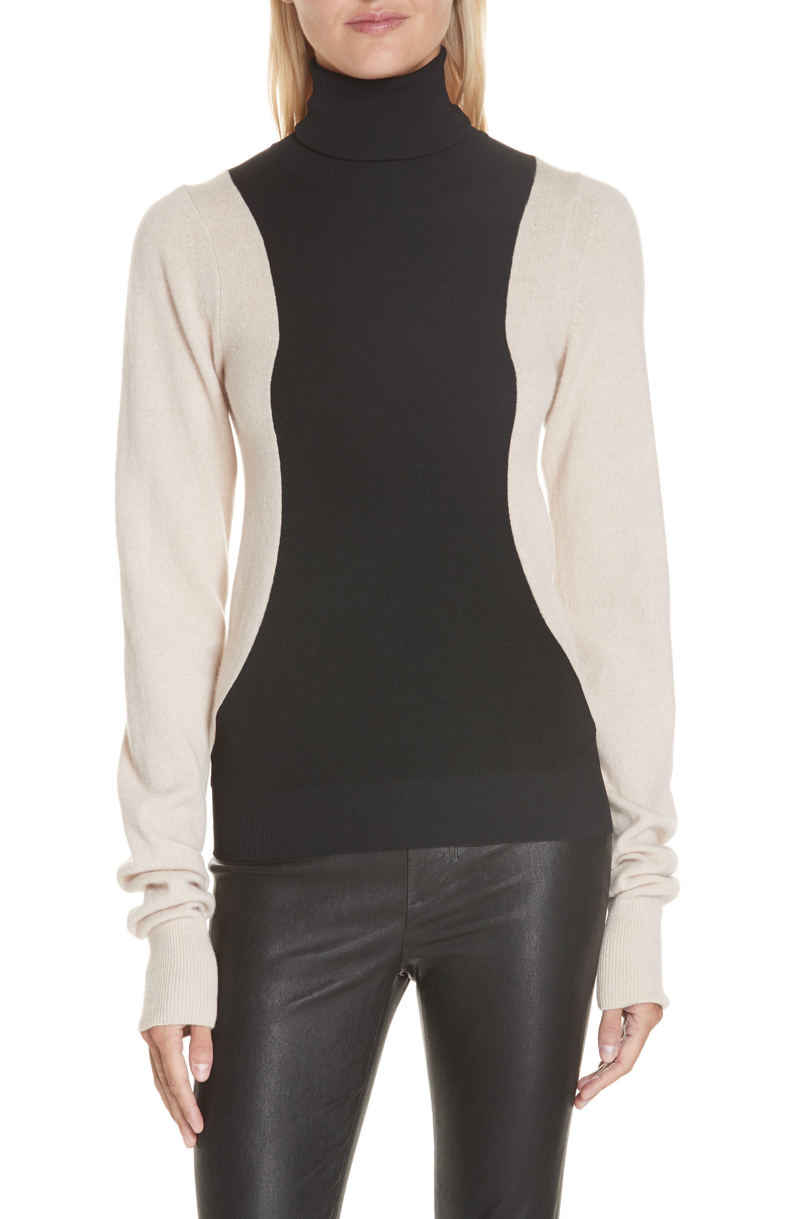 Colorblock Wool Blend Turtleneck Sweater,                             Main thumbnail 1, color,                             BLACK/ NUT