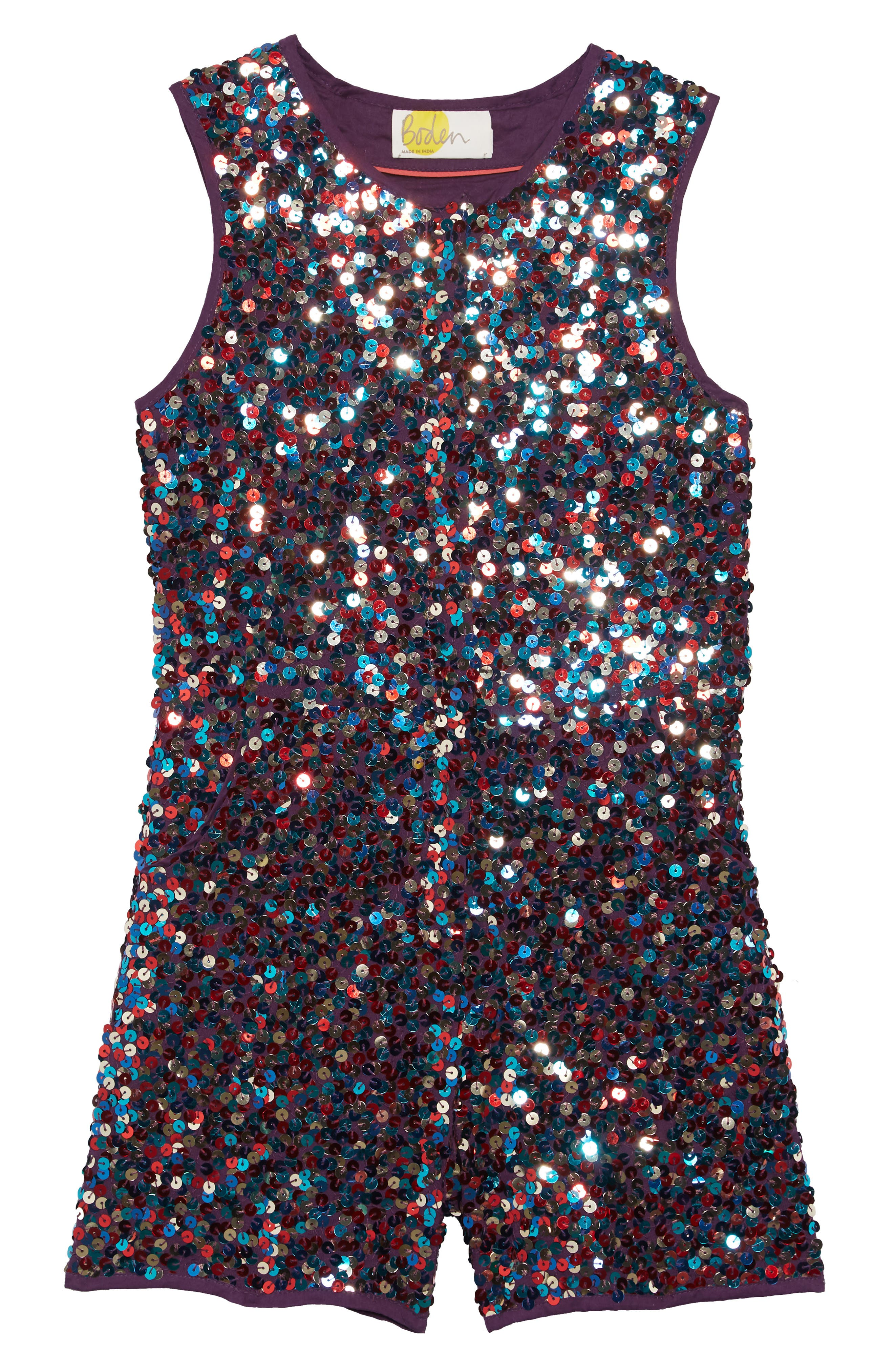 Girls Mini Boden Sequin Romper Size 89Y  Metallic