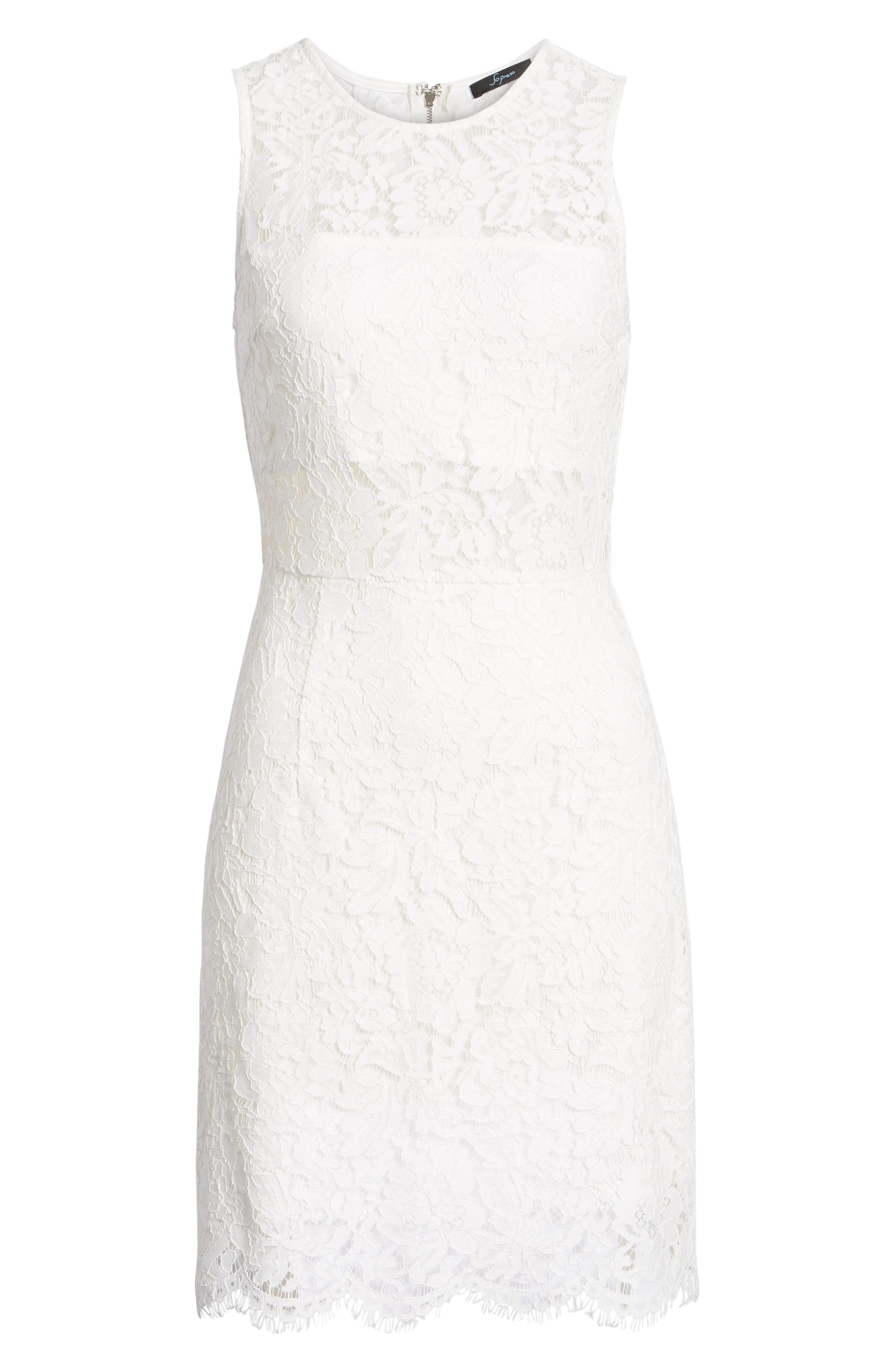 Lace Sheath Dress,                             Alternate thumbnail 7, color,                             900