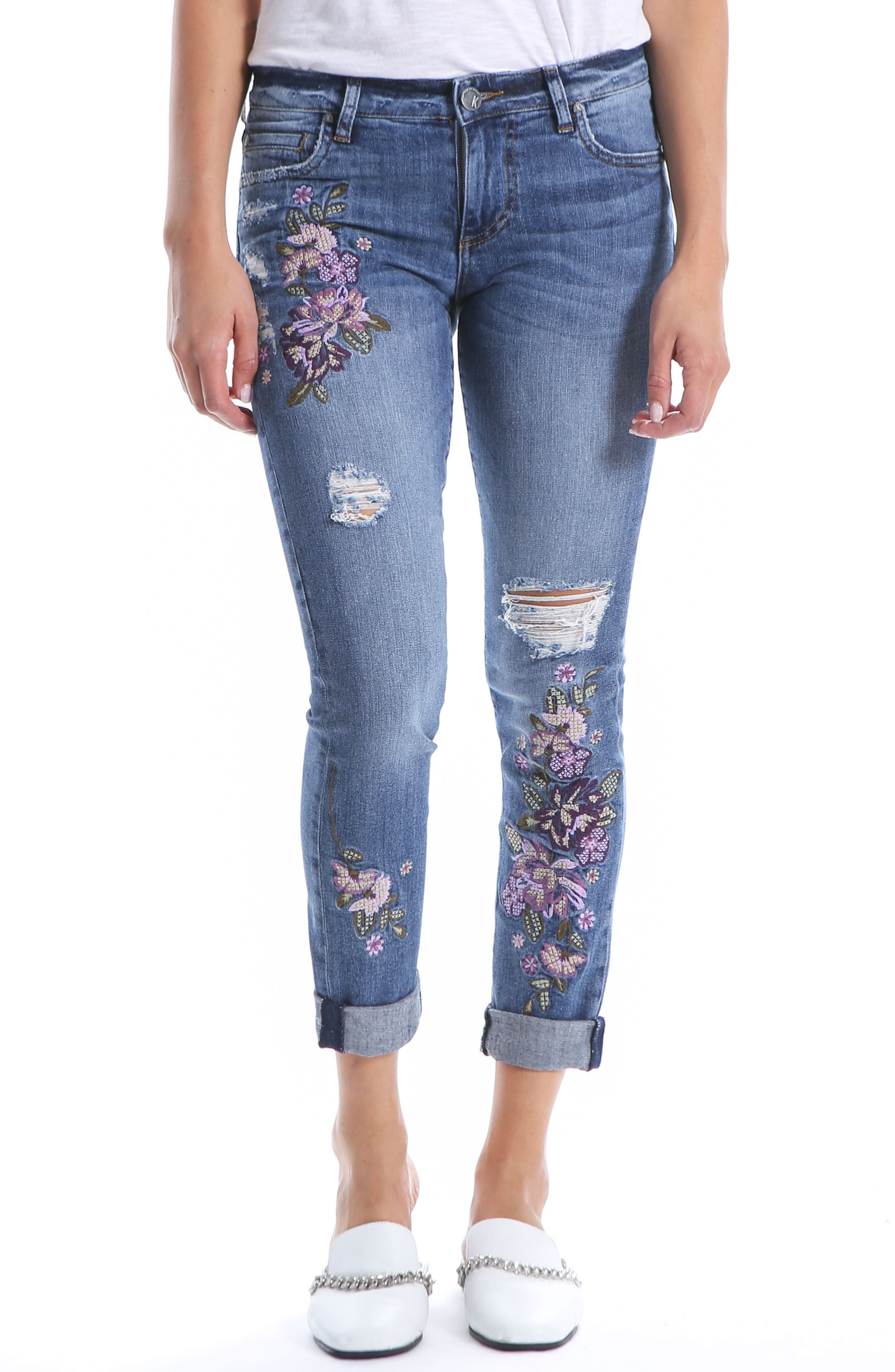 Kut From The Kloth Catherine Floral Boyfriend Jeans, Blue