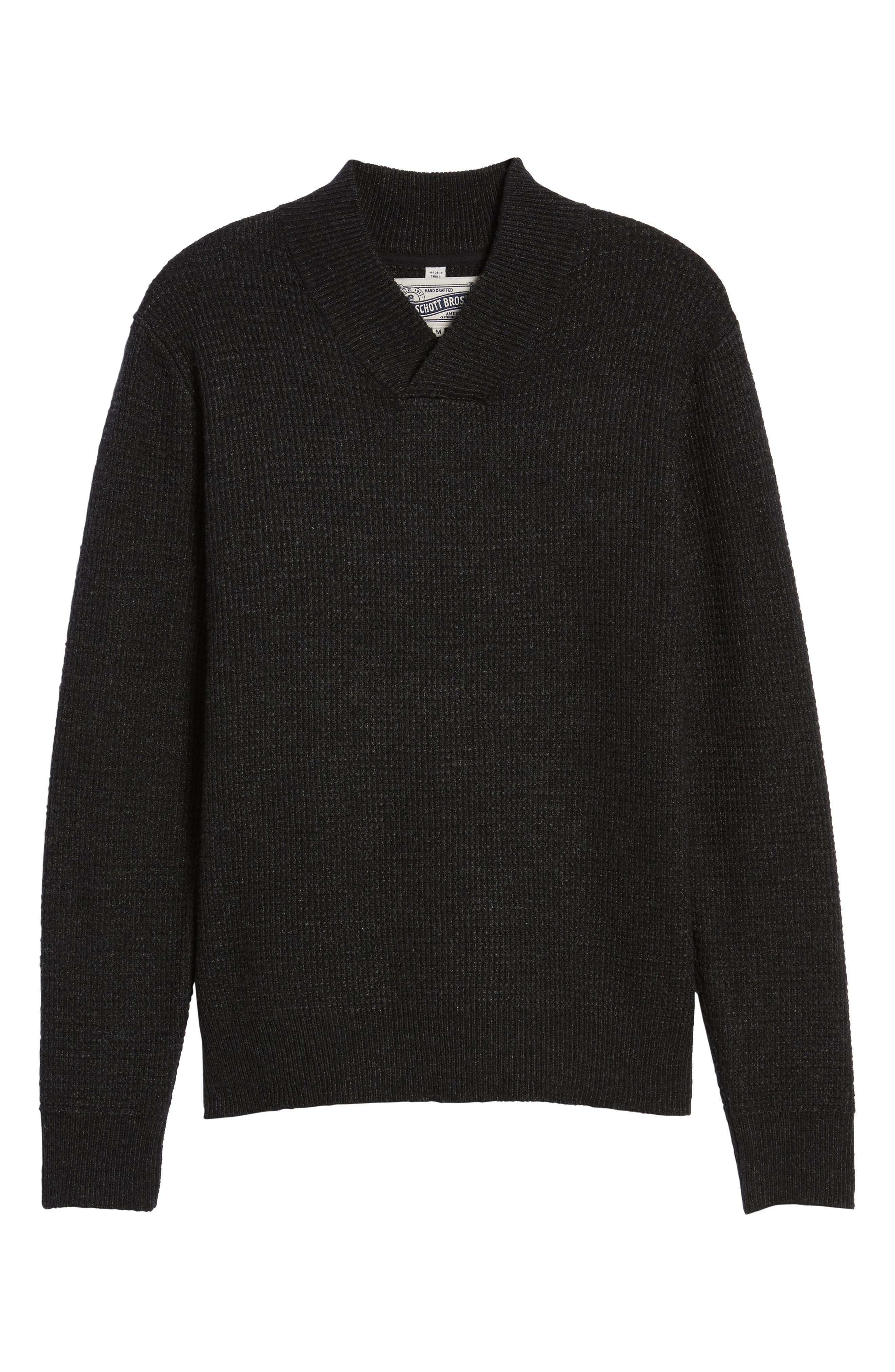 Waffle Knit Thermal Wool Blend Pullover,                             Alternate thumbnail 6, color,                             BLACK