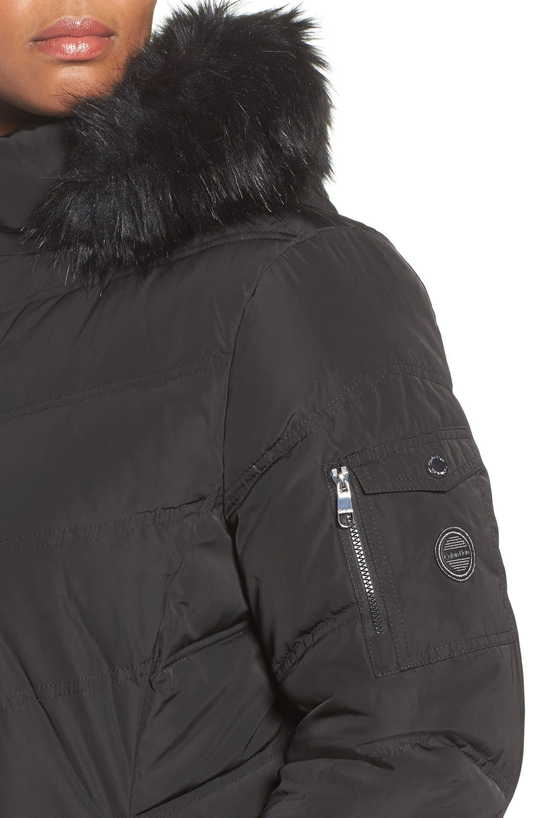 CALVIN KLEIN,                             Water Resistant Puffer Coat with Faux Fur Trim,                             Alternate thumbnail 3, color,                             001
