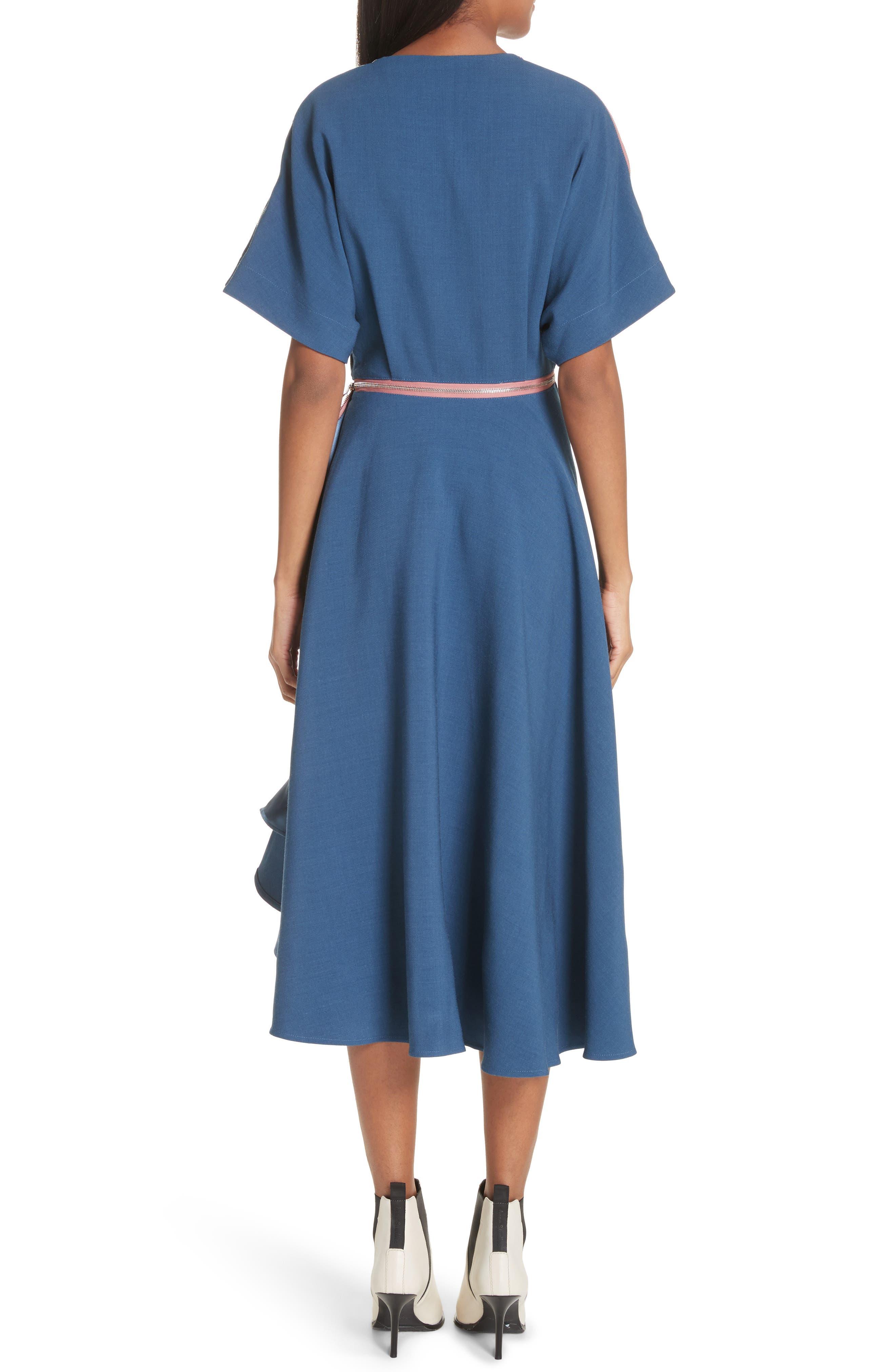 Gianna Asymmetrical Satin Dress,                             Alternate thumbnail 2, color,                             400