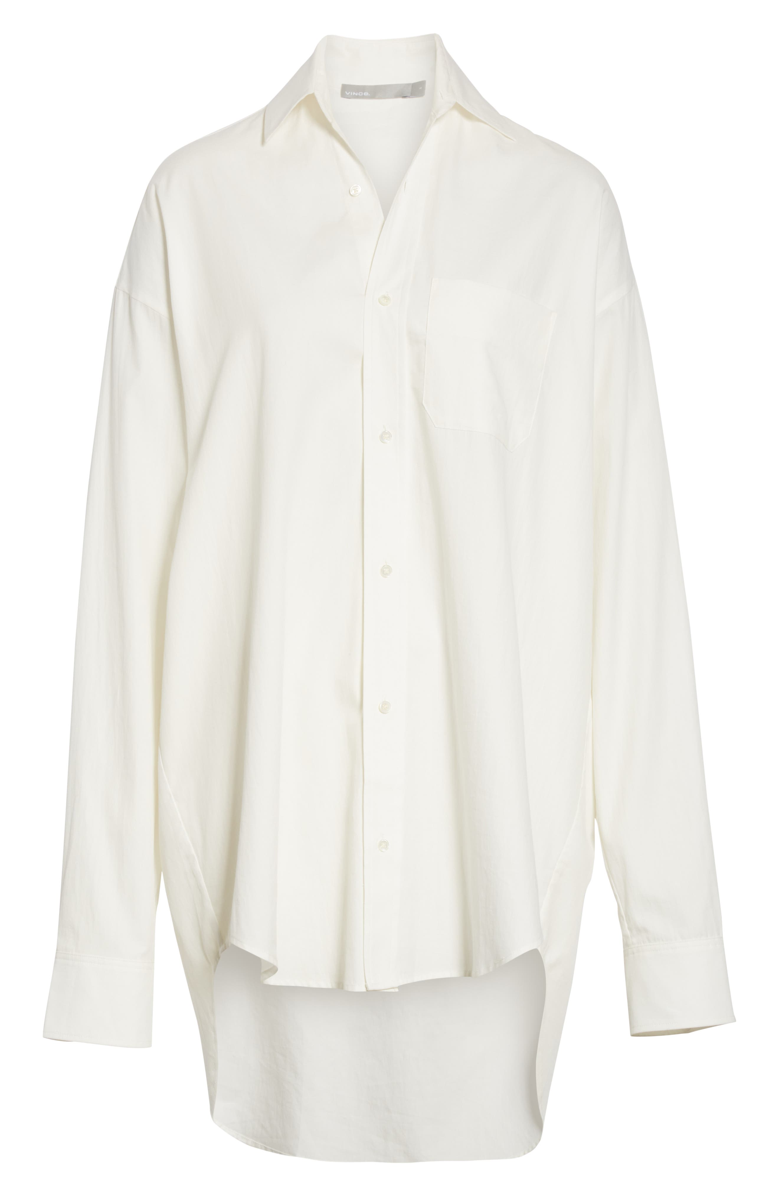 VINCE,                             Oversize Classic Cotton & Silk Shirt,                             Alternate thumbnail 6, color,                             137