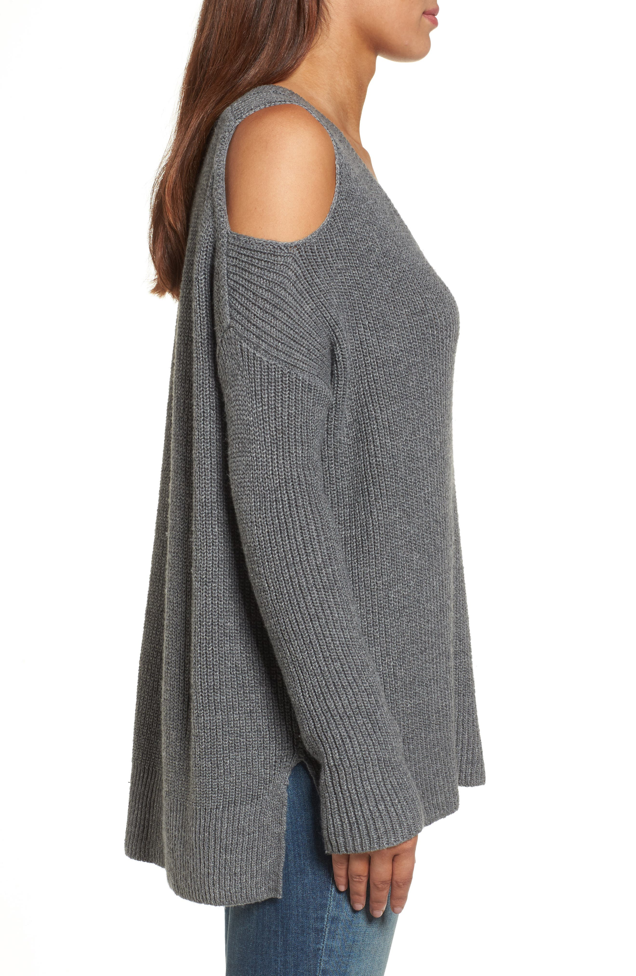 Cold Shoulder Tunic Sweater,                             Alternate thumbnail 3, color,                             020