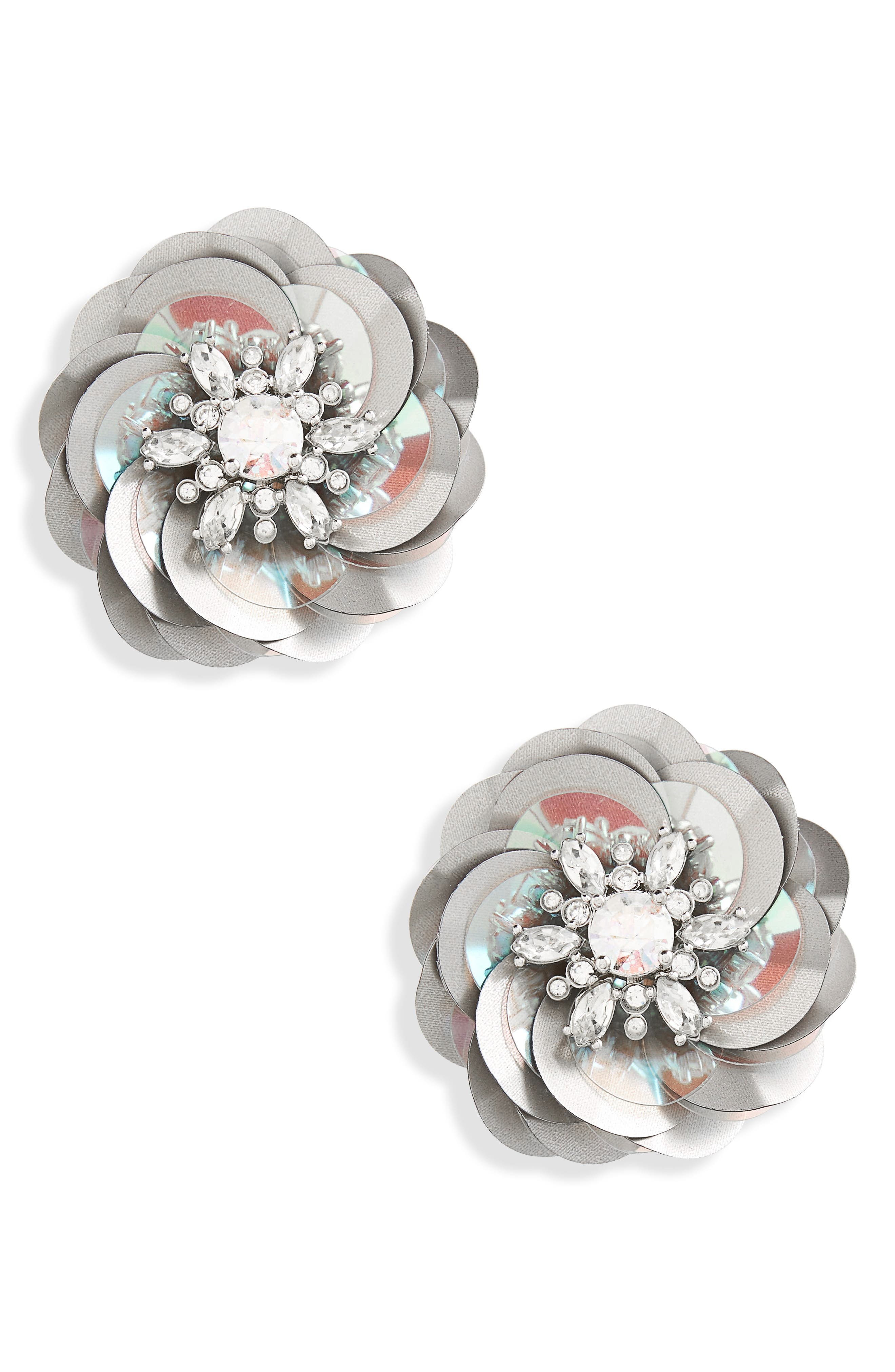 snowy nights sequin statement earrings,                             Main thumbnail 1, color,                             043