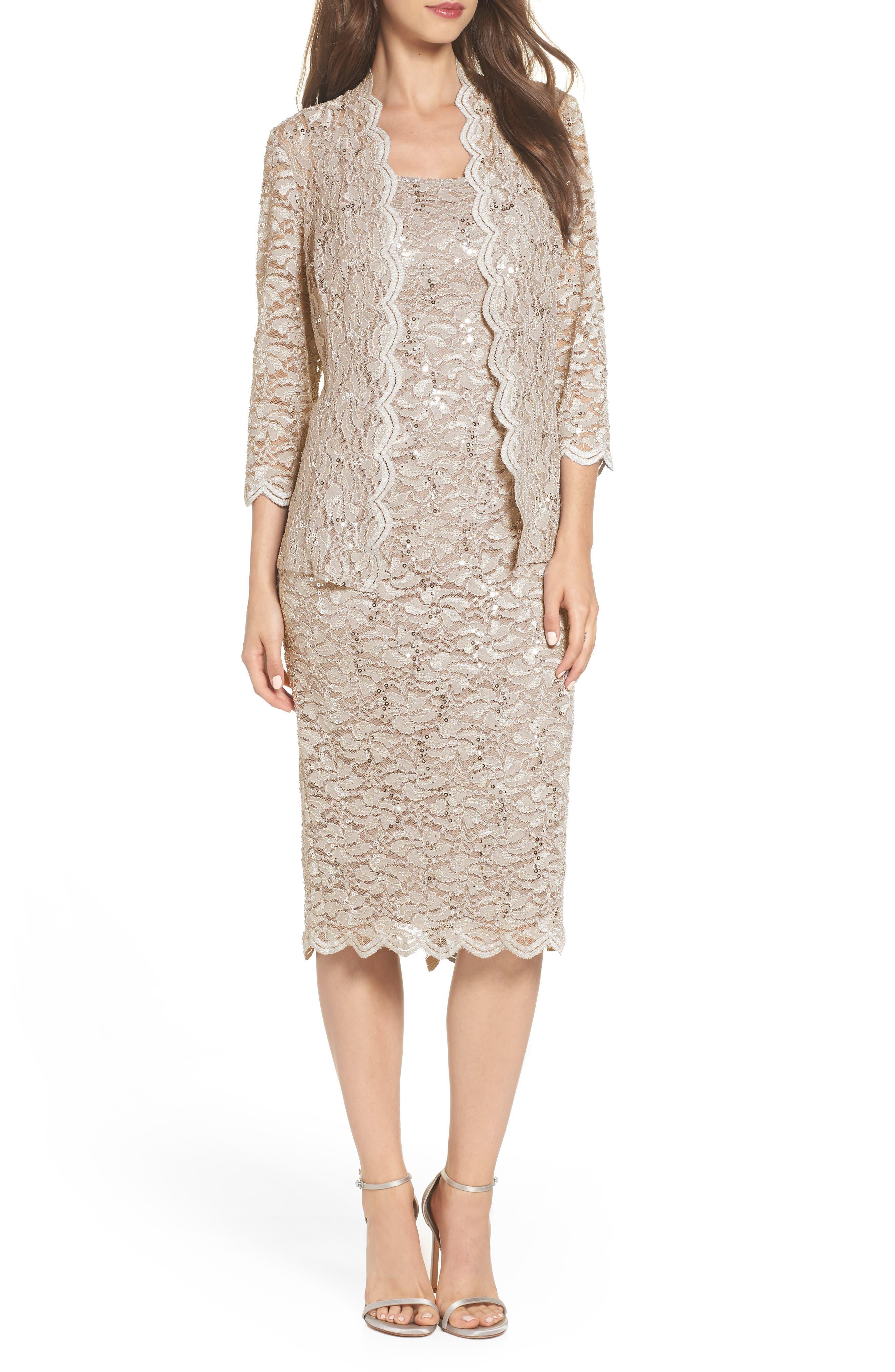 Lace Dress & Jacket,                             Alternate thumbnail 2, color,                             CHAMPAGNE