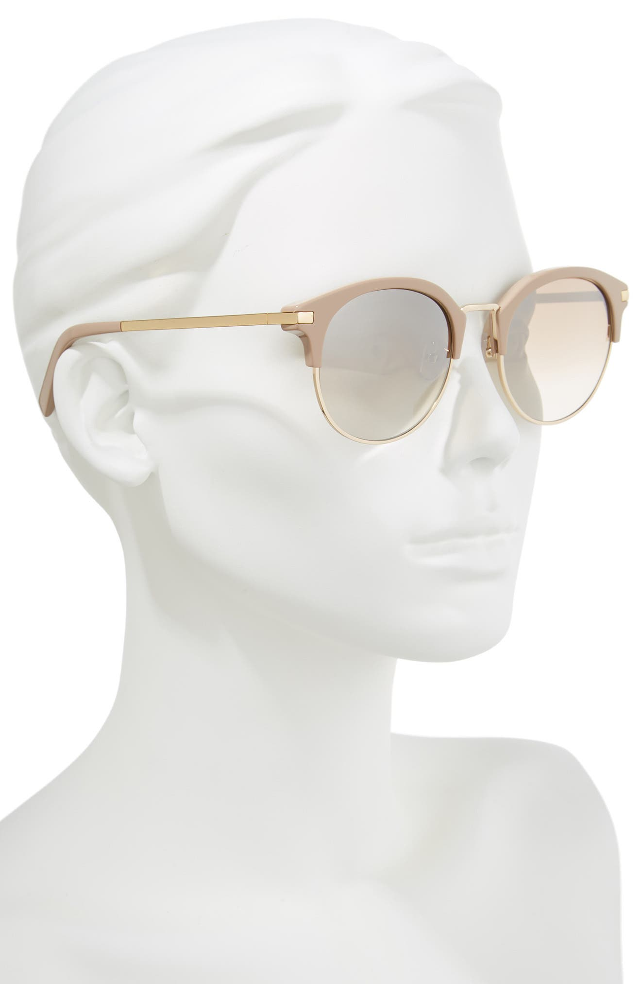 56mm Round Sunglasses,                             Alternate thumbnail 2, color,                             GOLD AND BEIGE/GRADIENT BROWN