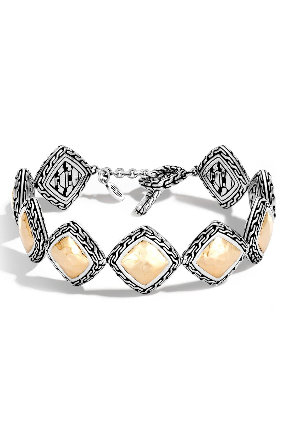 Classic Chain Heritage Quadrangle Bracelet,                             Main thumbnail 1, color,                             SILVER/ GOLD
