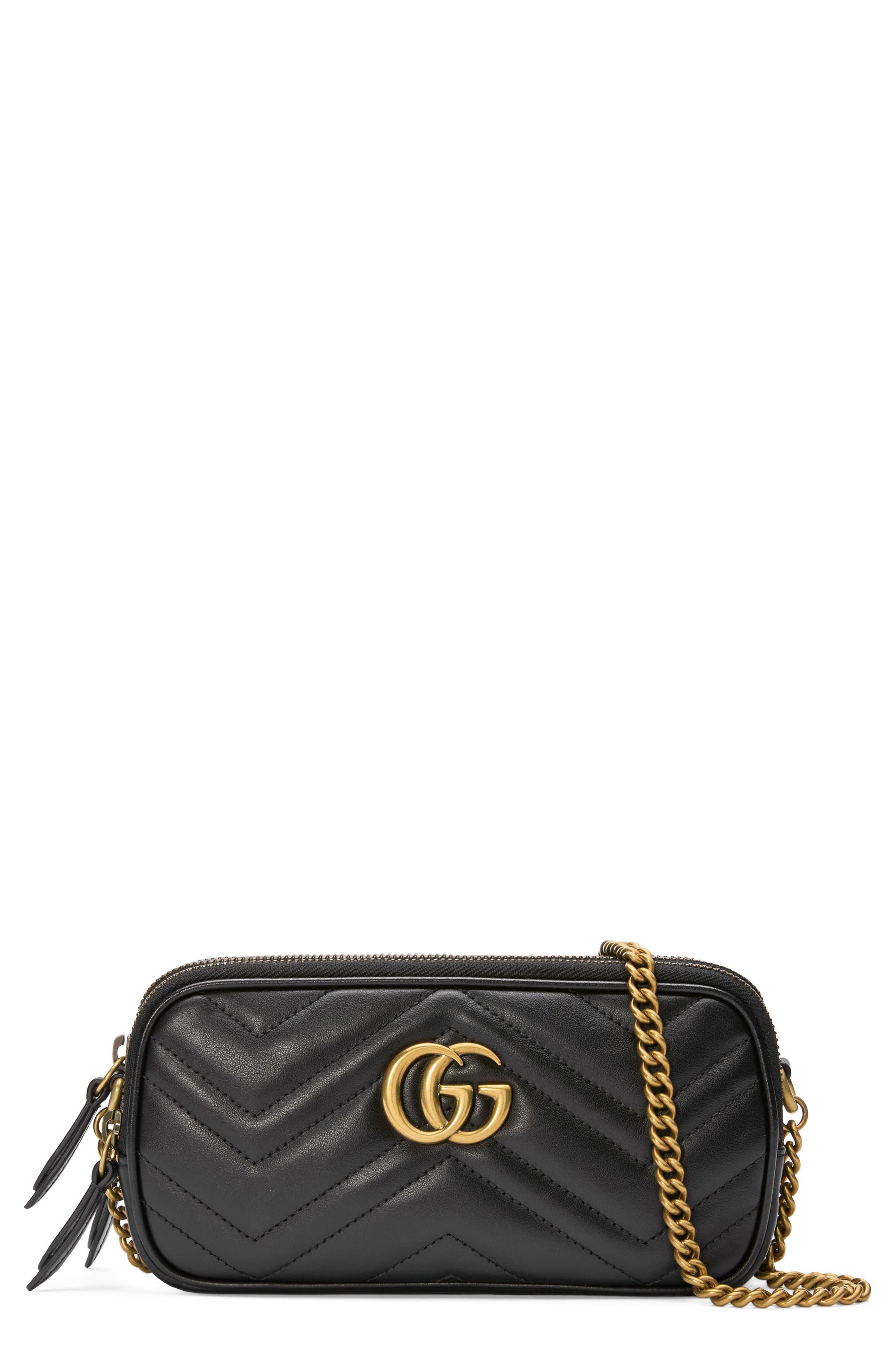 Marmont 2.0 Leather Crossbody Bag,                         Main,                         color, NERO