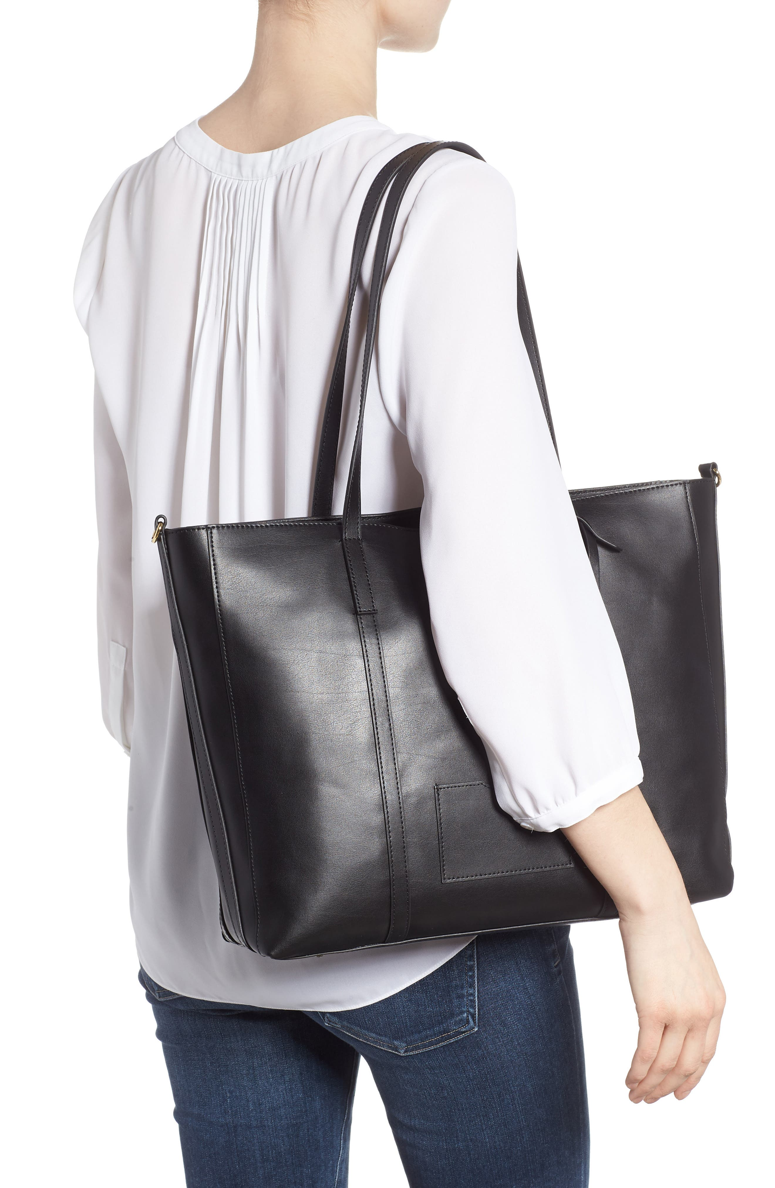Nelly RFID Medium Leather Tote,                             Alternate thumbnail 2, color,                             BLACK