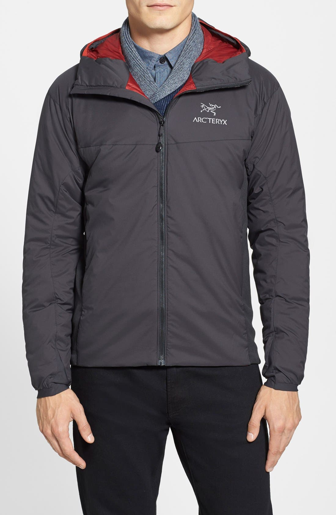 'Atom LT' Trim Fit Wind & Water Resistant Coreloft<sup>™</sup> Hooded Jacket,                             Main thumbnail 1, color,                             001