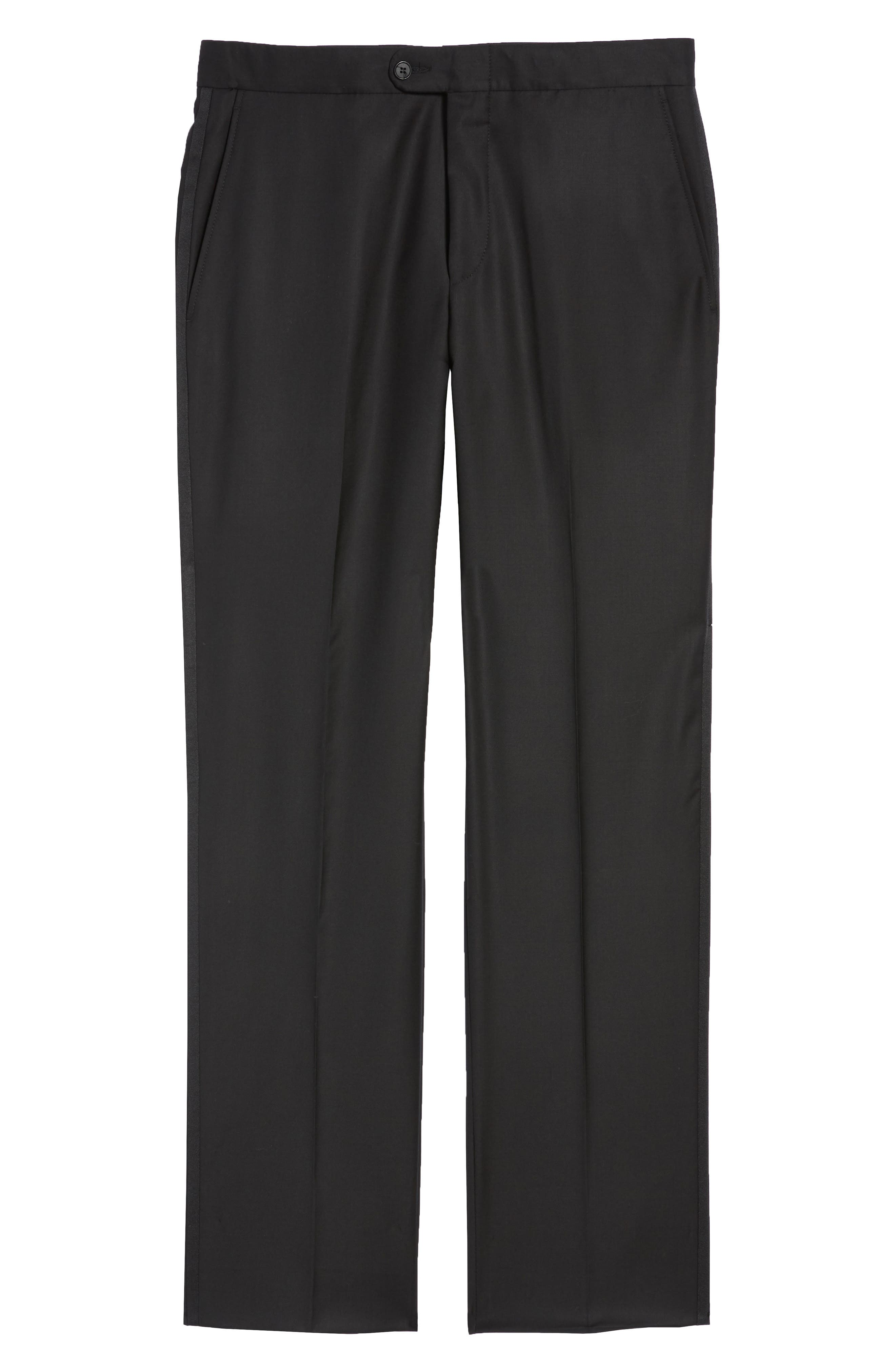 Classic B Fit Flat Front Solid Wool Trousers,                             Alternate thumbnail 6, color,                             BLACK SOLID