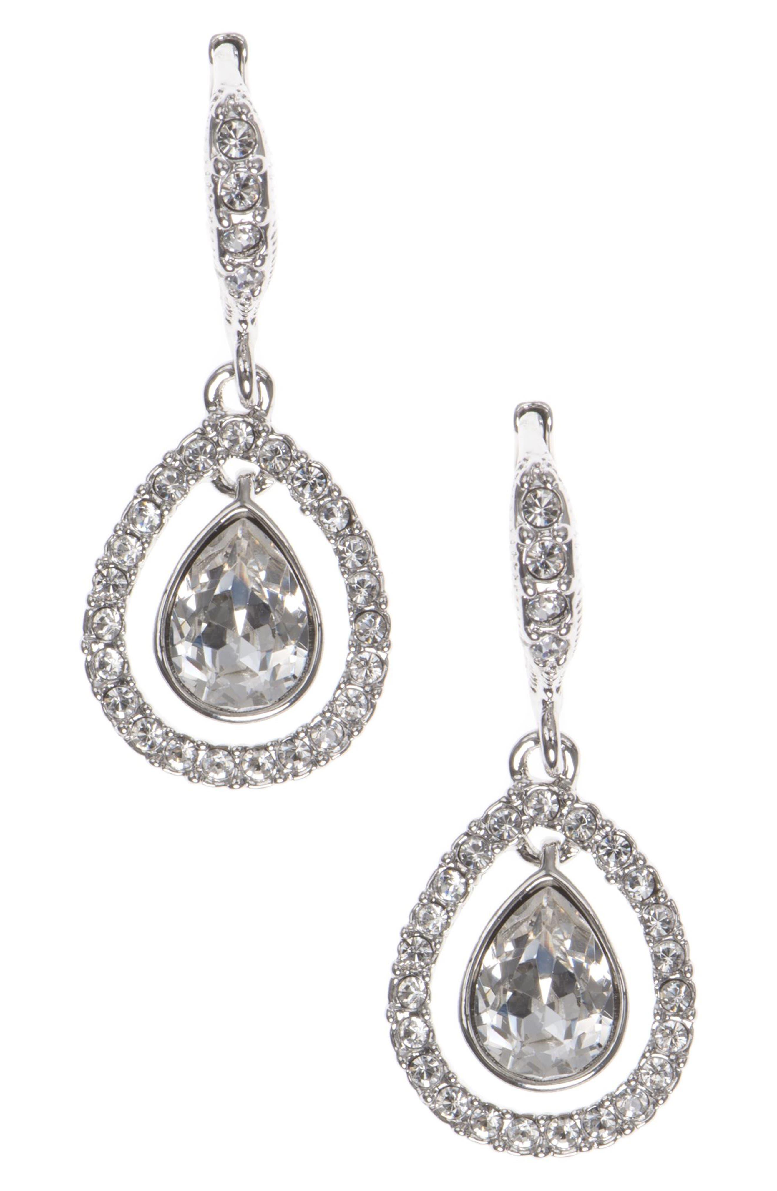 Crystal Drop Earrings,                             Main thumbnail 1, color,                             SILVER
