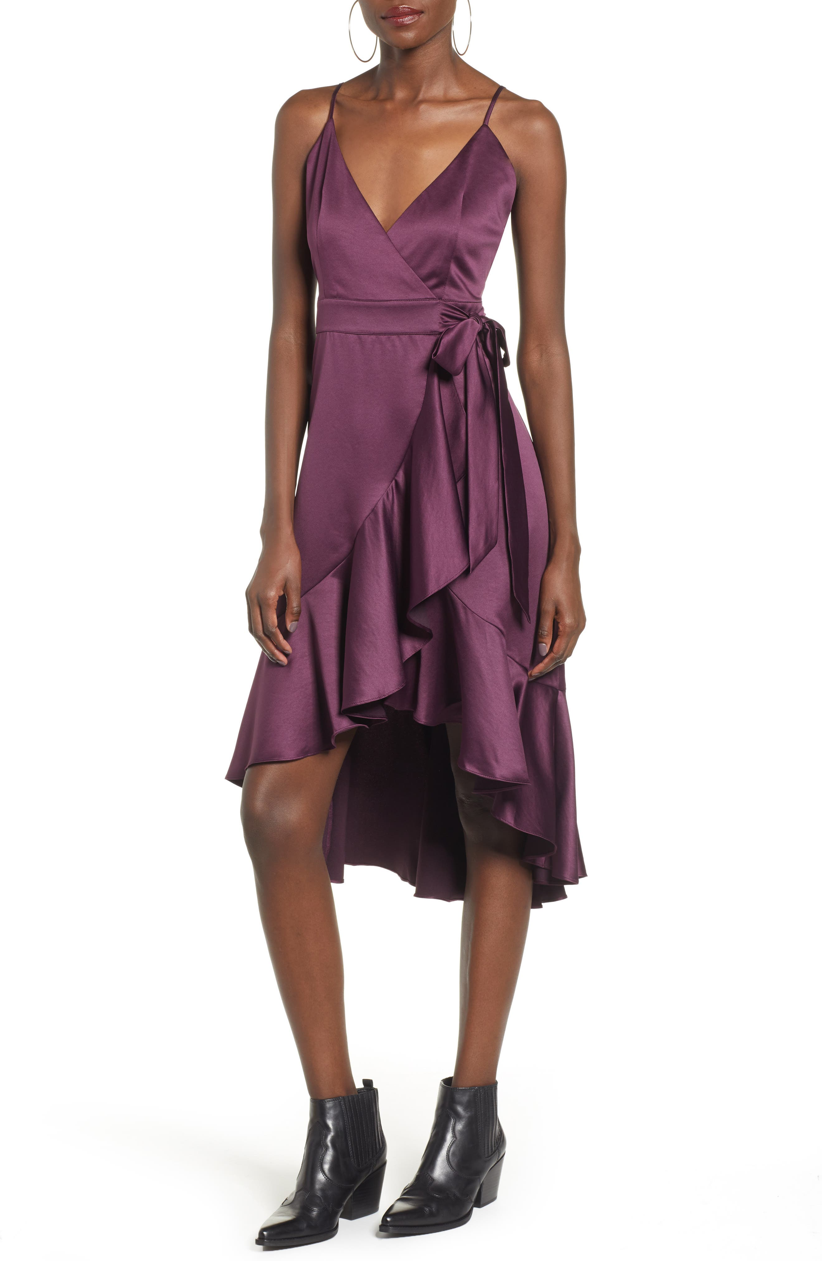 BAND OF GYPSIES,                             Payton Ruffled High/Low Dress,                             Main thumbnail 1, color,                             PLUM