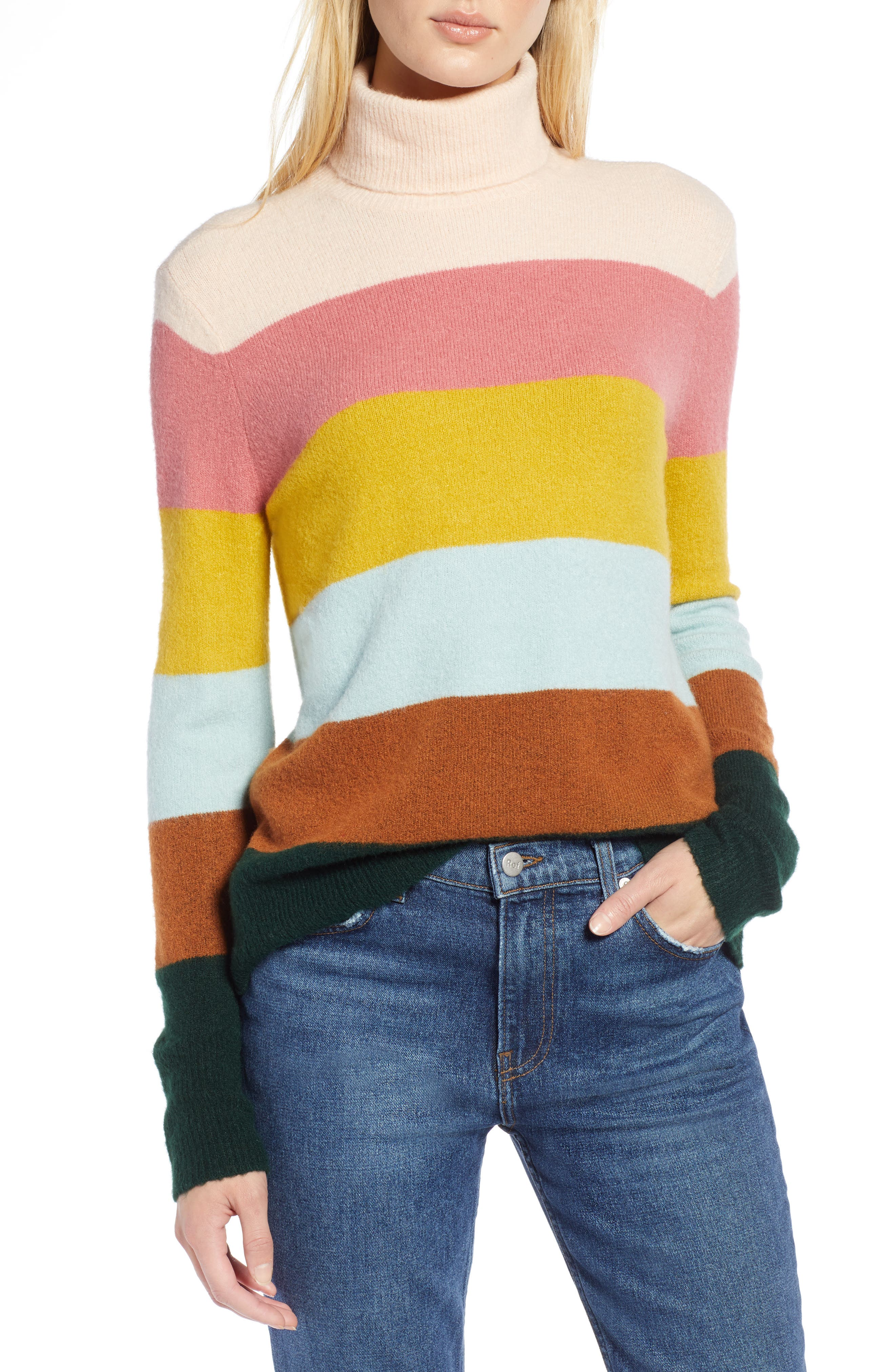 x Atlantic-Pacific Stripe Turtleneck Sweater,                             Main thumbnail 1, color,                             PINK MULTI STRIPE