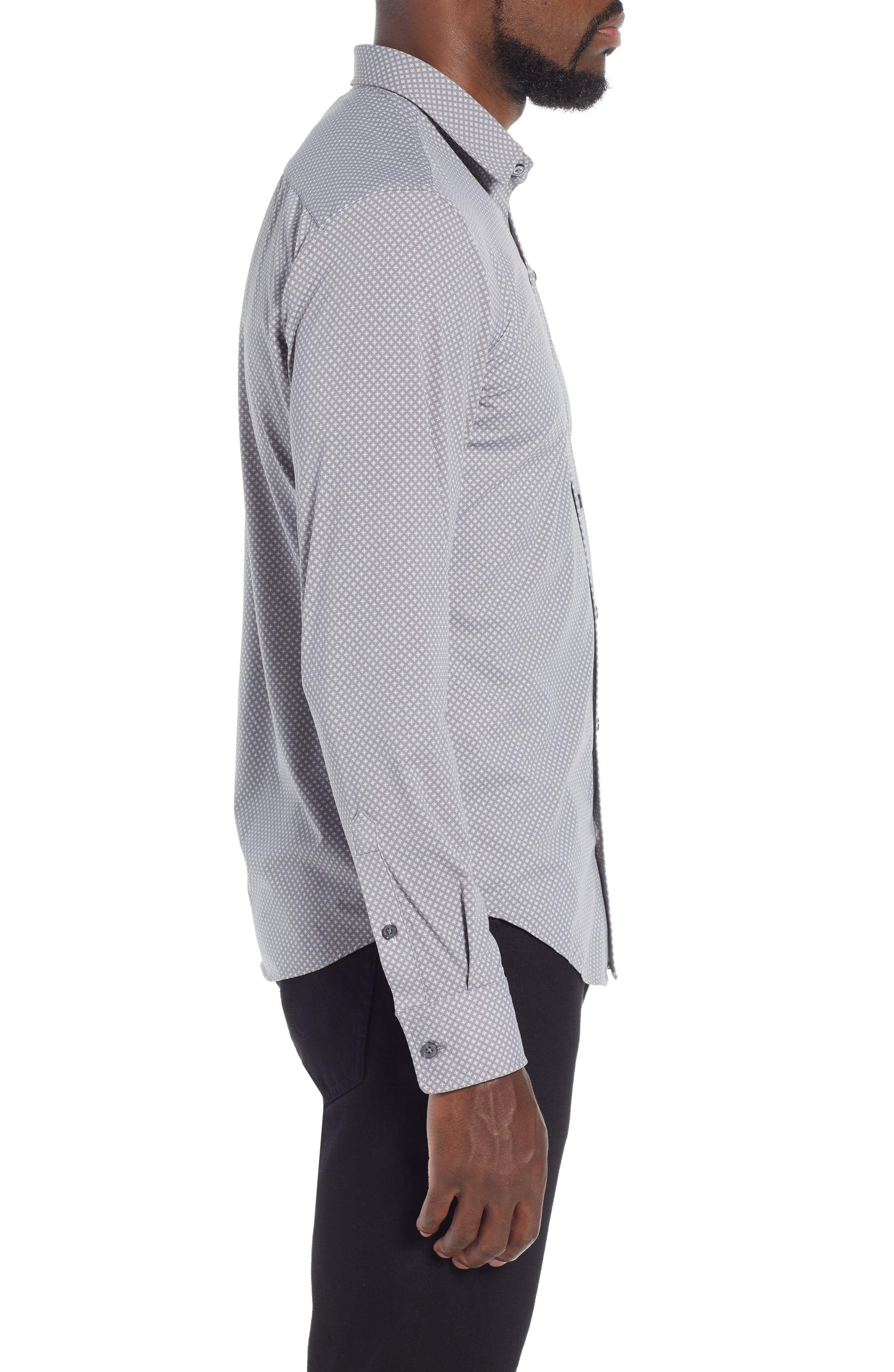 Robbie Extra Trim Fit Microprint Sport Shirt,                             Alternate thumbnail 4, color,                             GREY