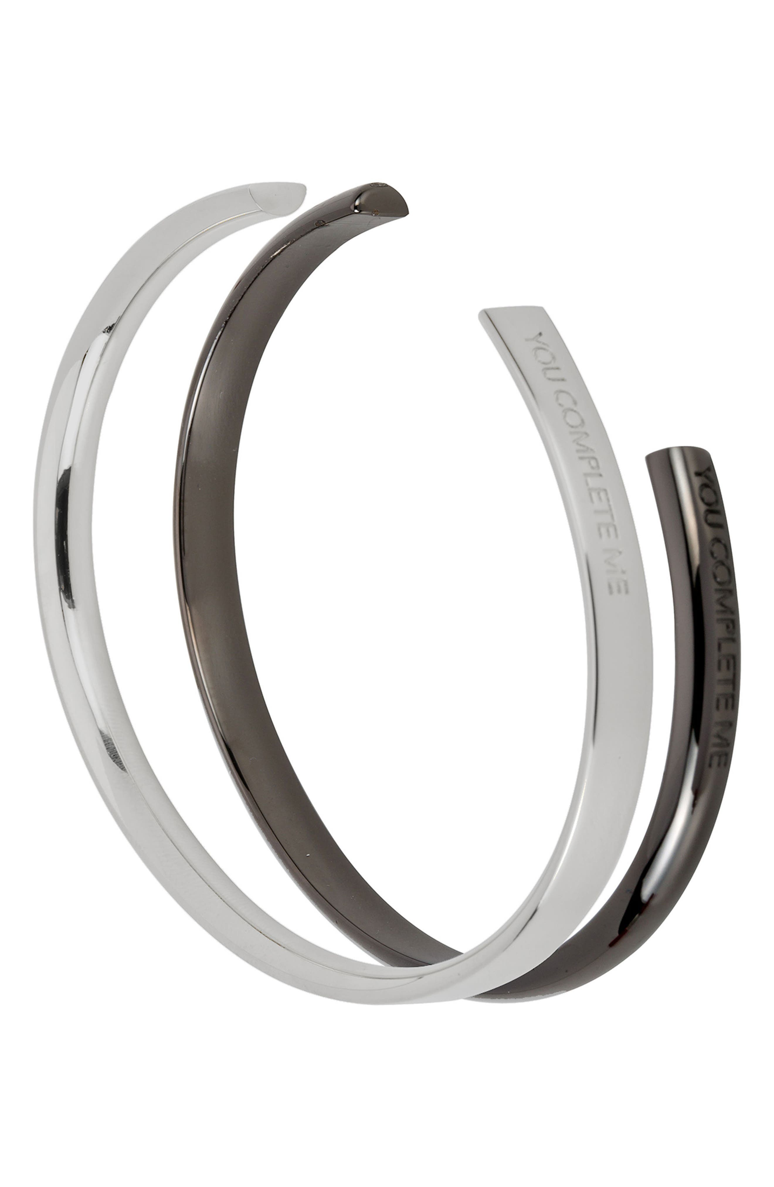 You Complete Me Set of 2 Cuffs,                         Main,                         color, SILVER