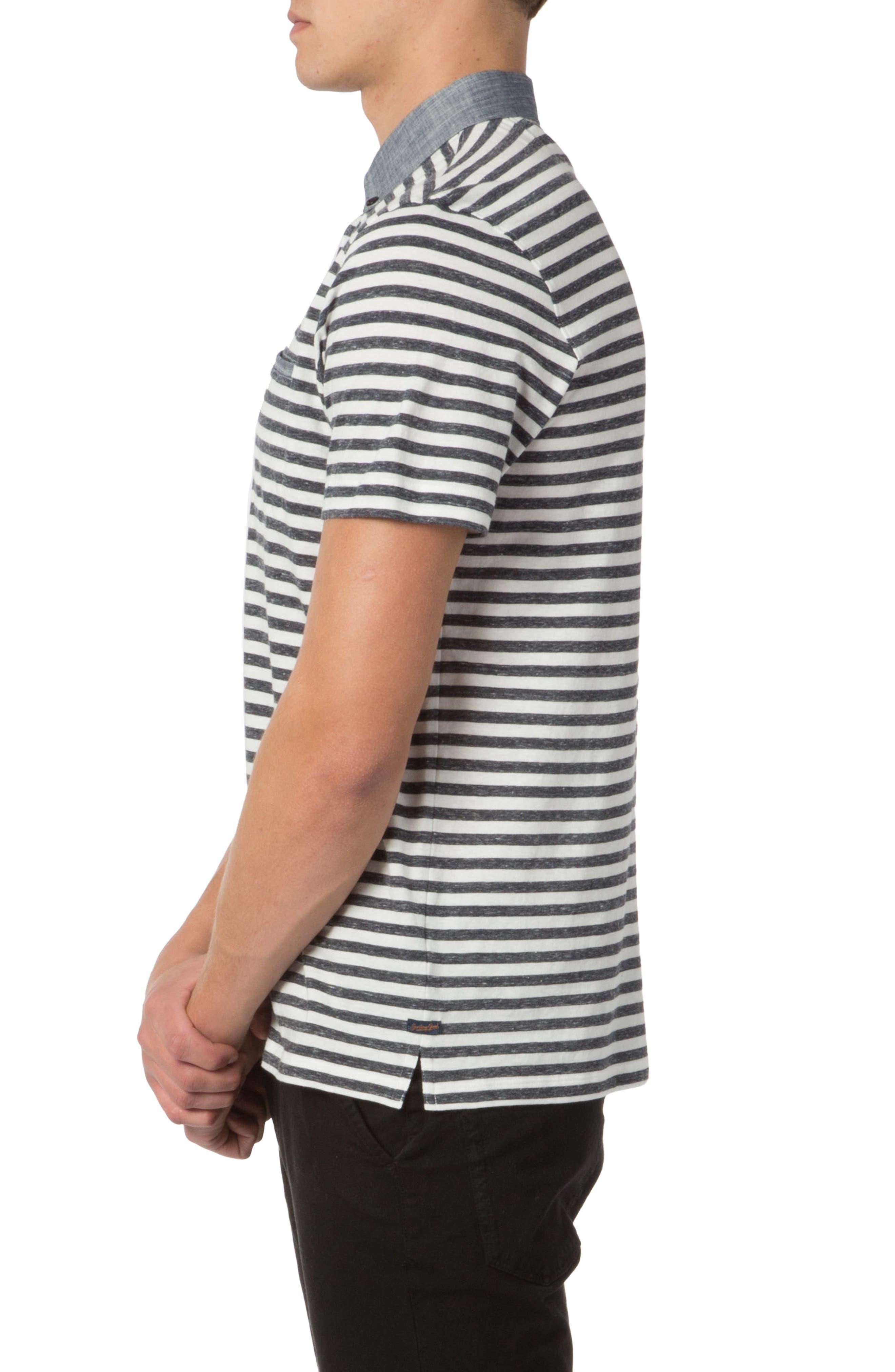 Trim Fit Stripe Linen Polo,                             Alternate thumbnail 3, color,                             413