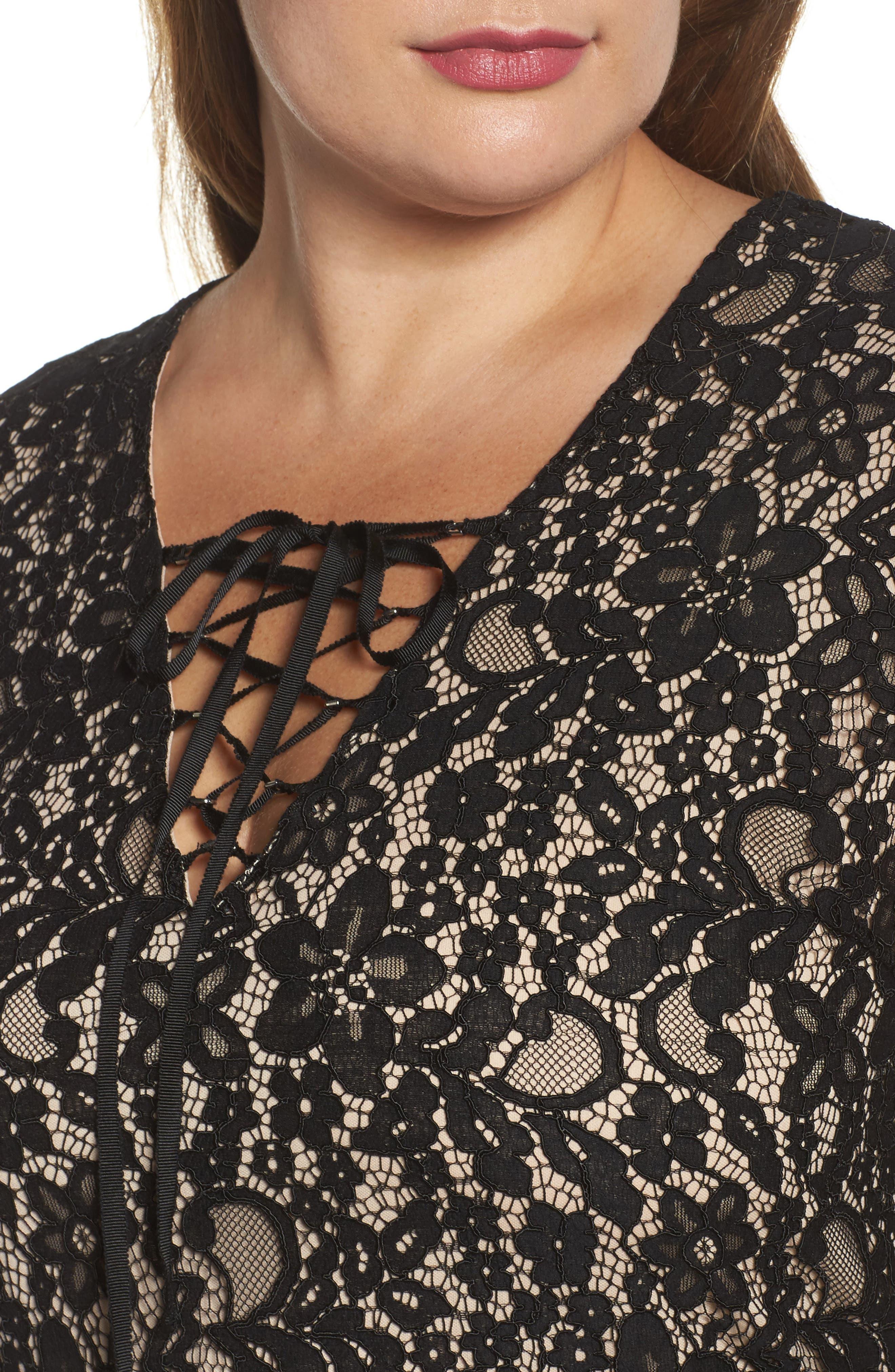 Tie Front Lace Dress,                             Alternate thumbnail 4, color,                             001