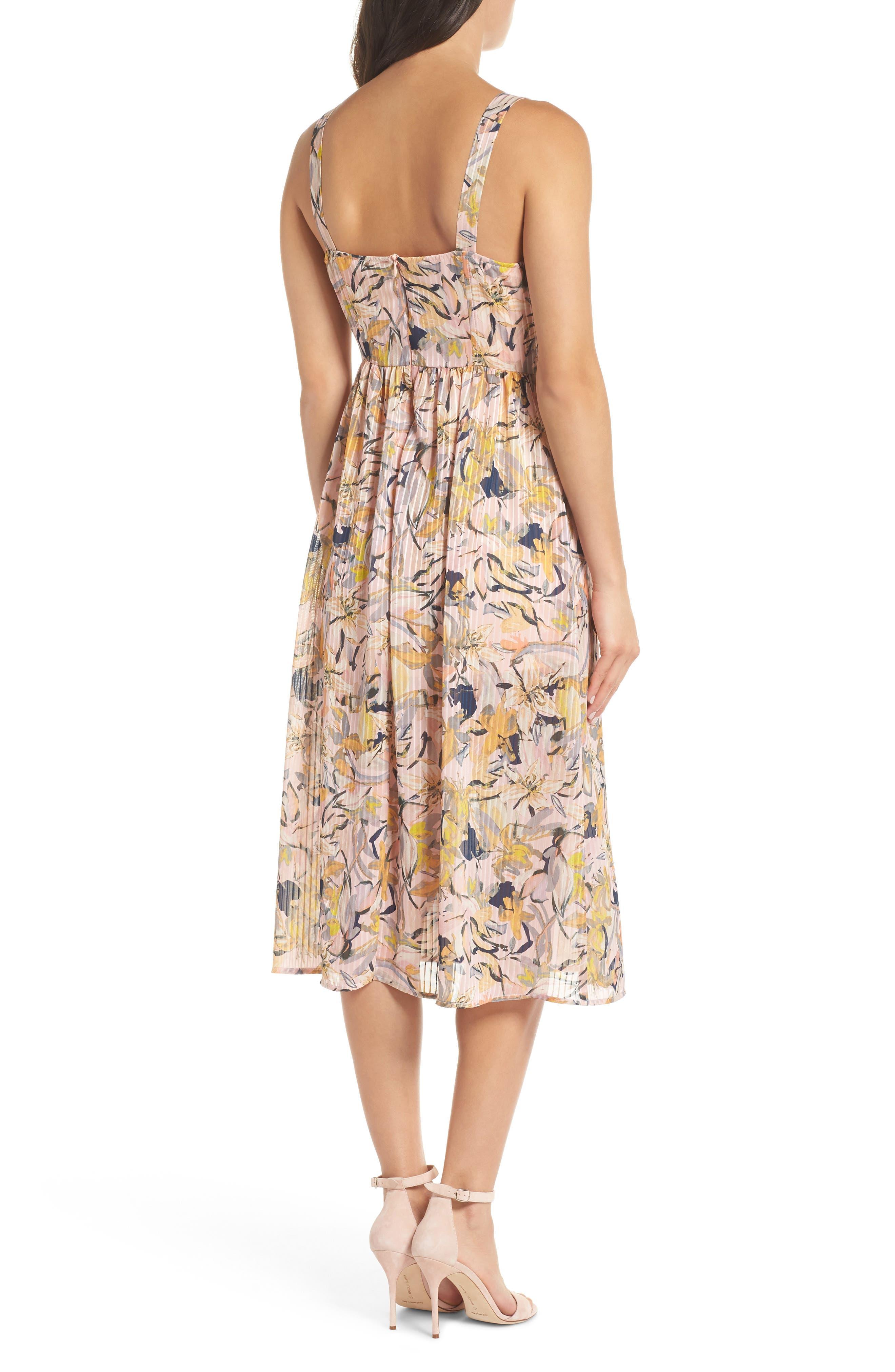 Marie Floral Bustier Midi Dress,                             Alternate thumbnail 2, color,                             650