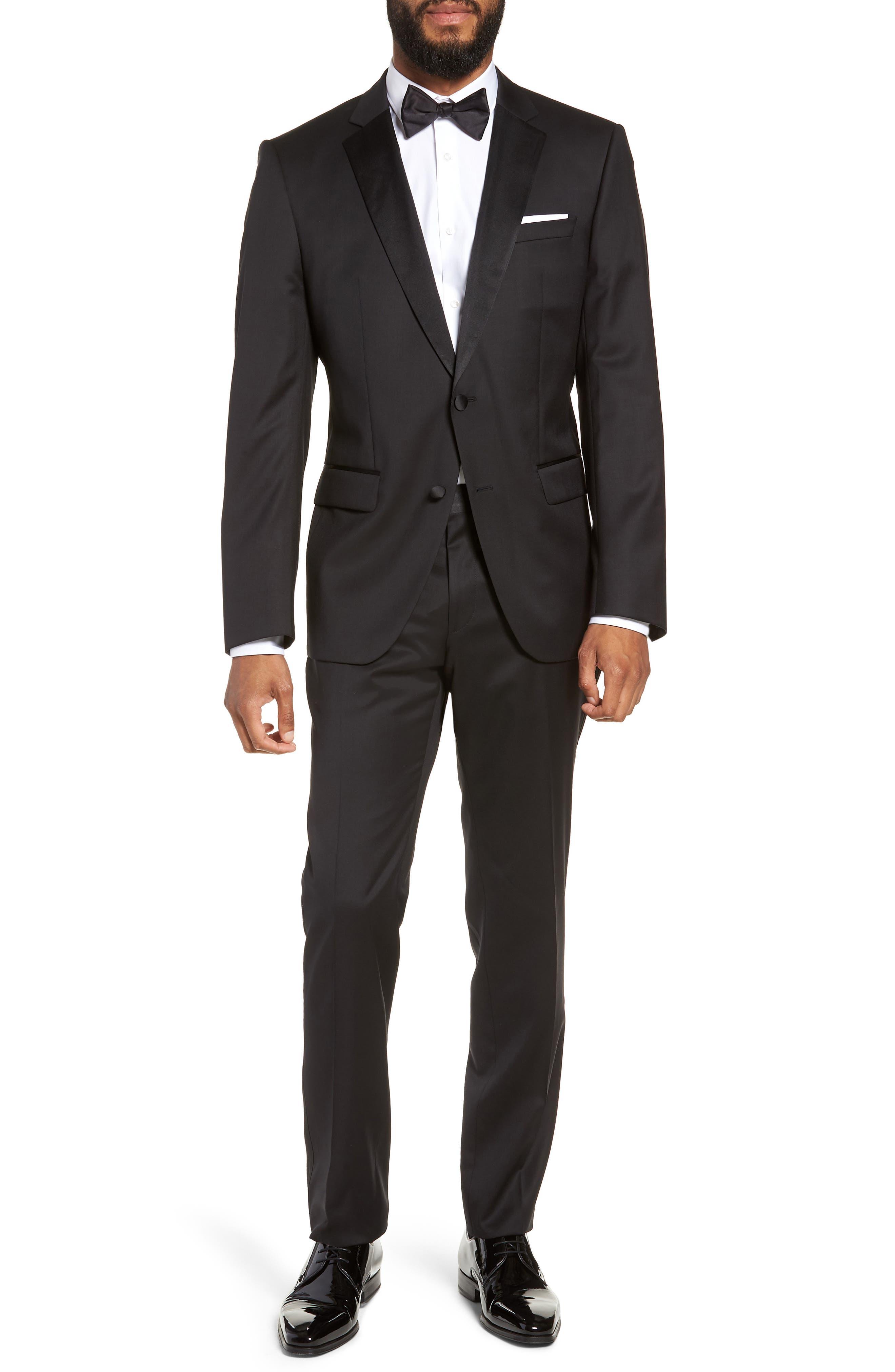 Halven/Gentry Trim Fit Wool Tuxedo,                             Main thumbnail 1, color,                             BLACK