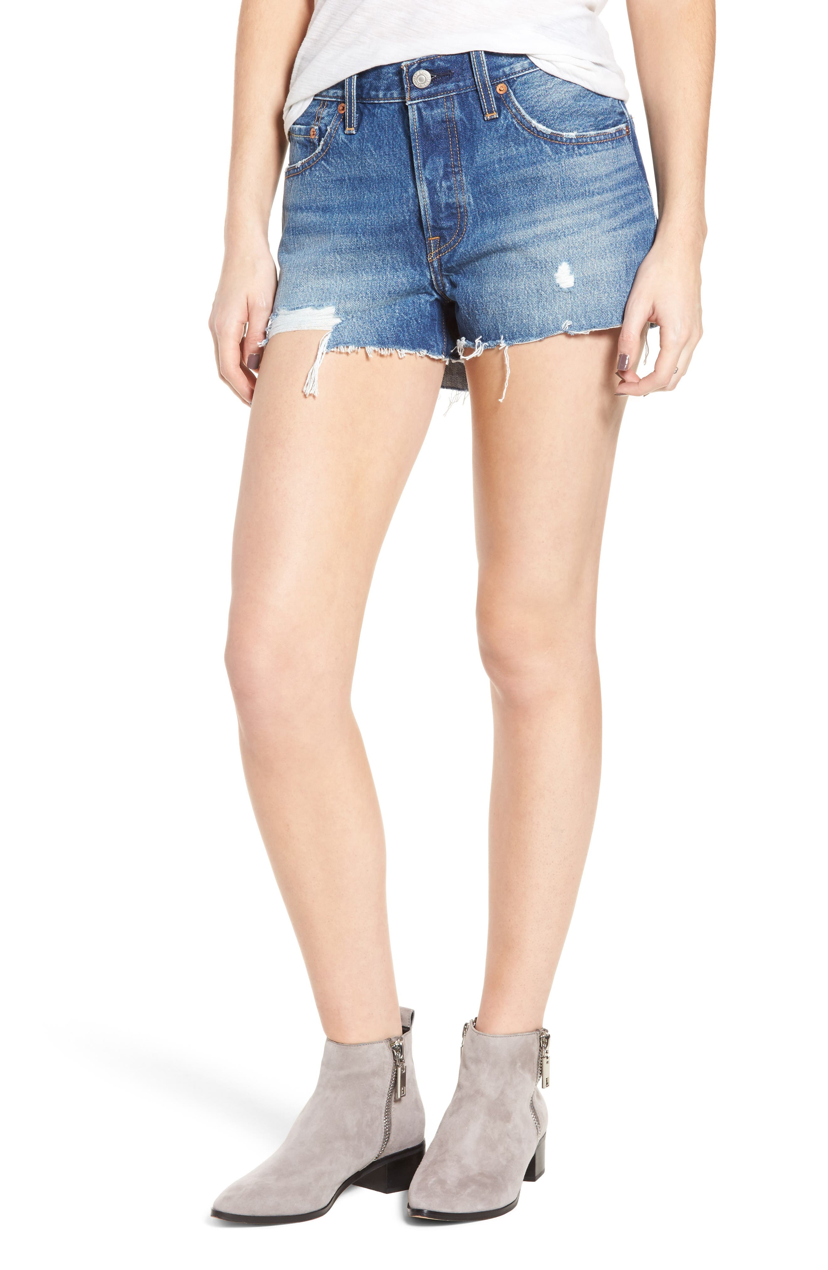 501<sup>®</sup> Cutoff Denim Shorts,                         Main,                         color, BACK TO YOUR HEART
