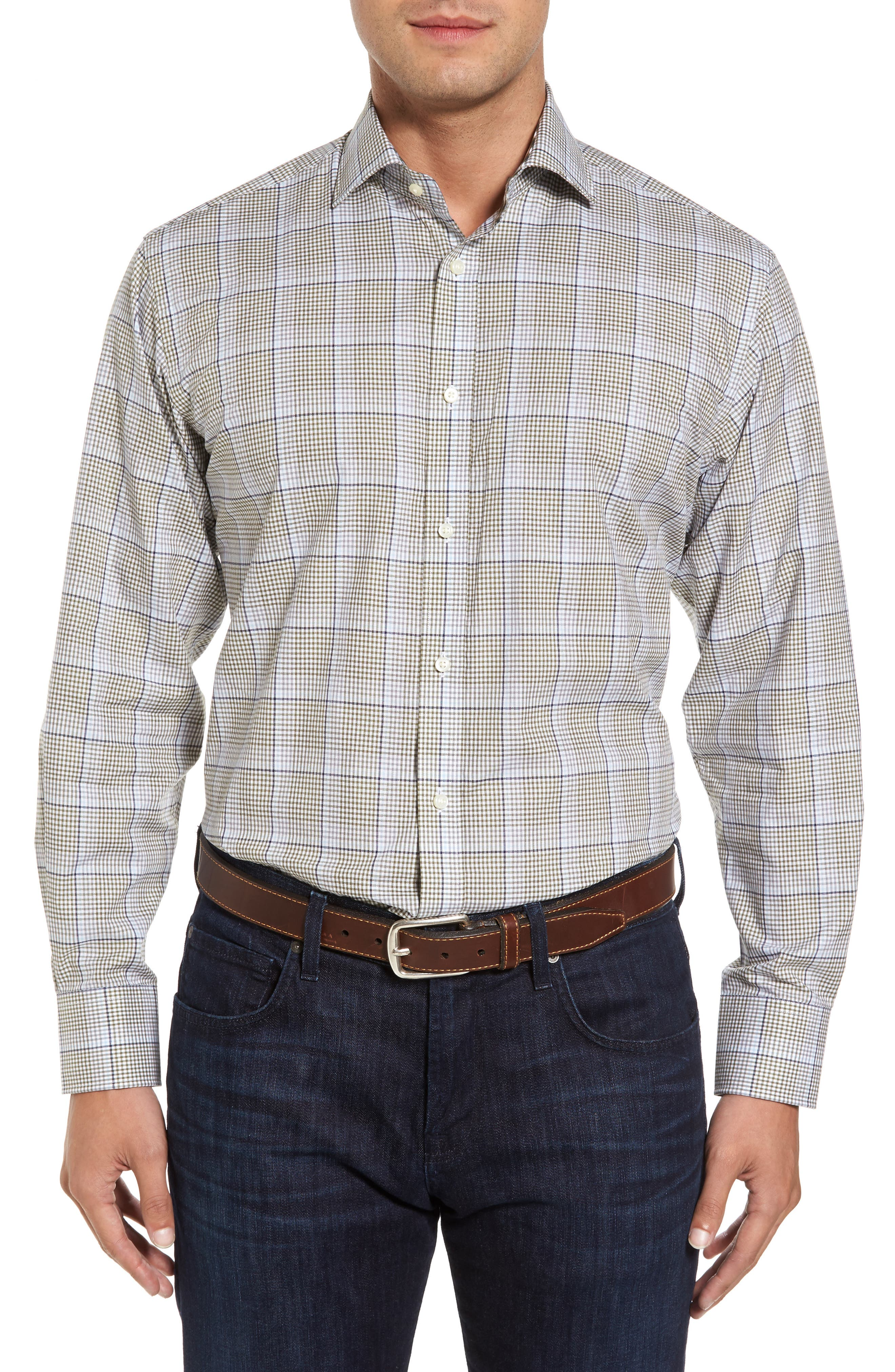 Diamond Regular Fit Dobby Check Sport Shirt,                         Main,                         color, 300