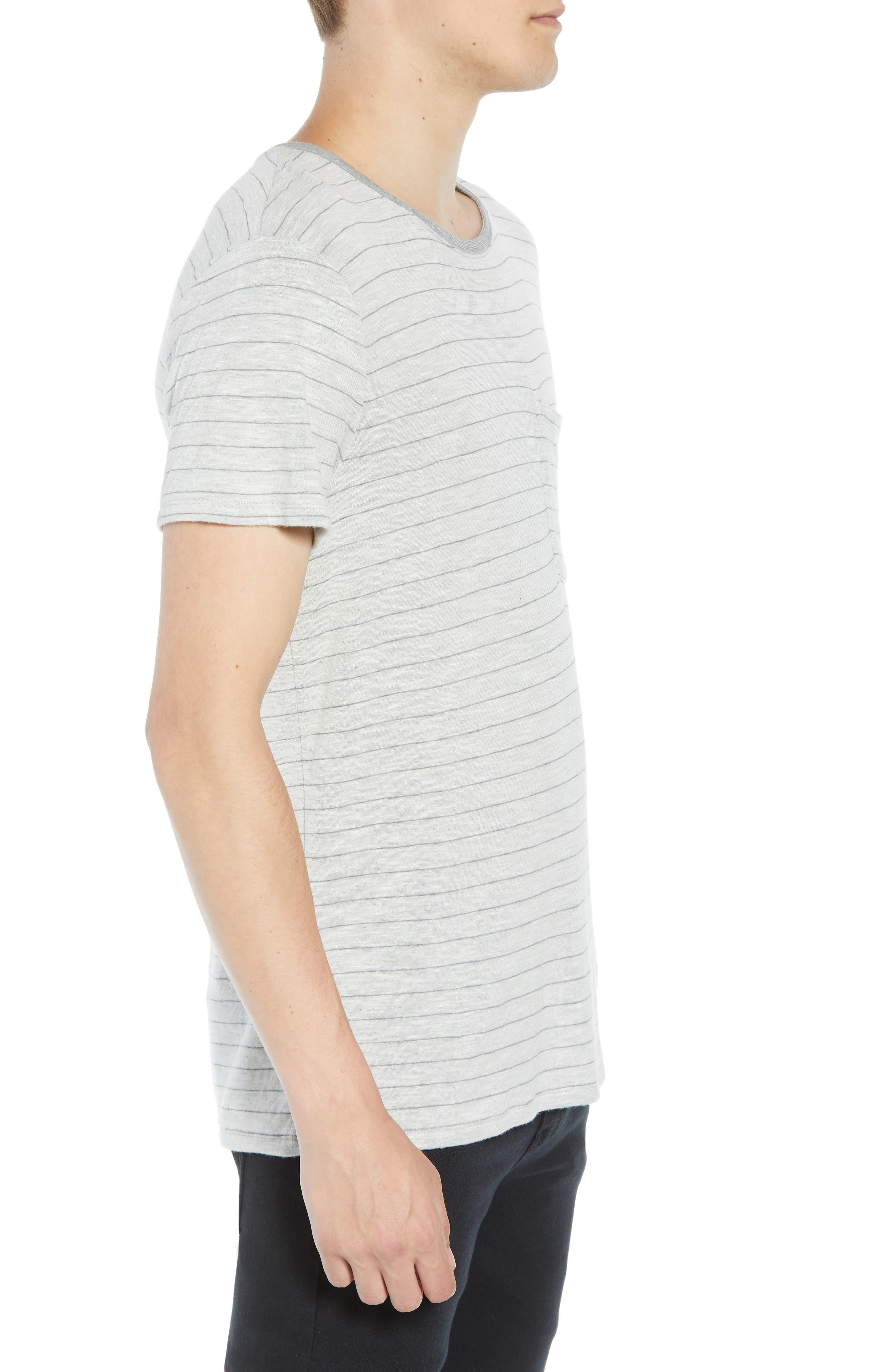 Slim Fit Stripe Slub Jersey T-Shirt,                             Alternate thumbnail 3, color,                             069