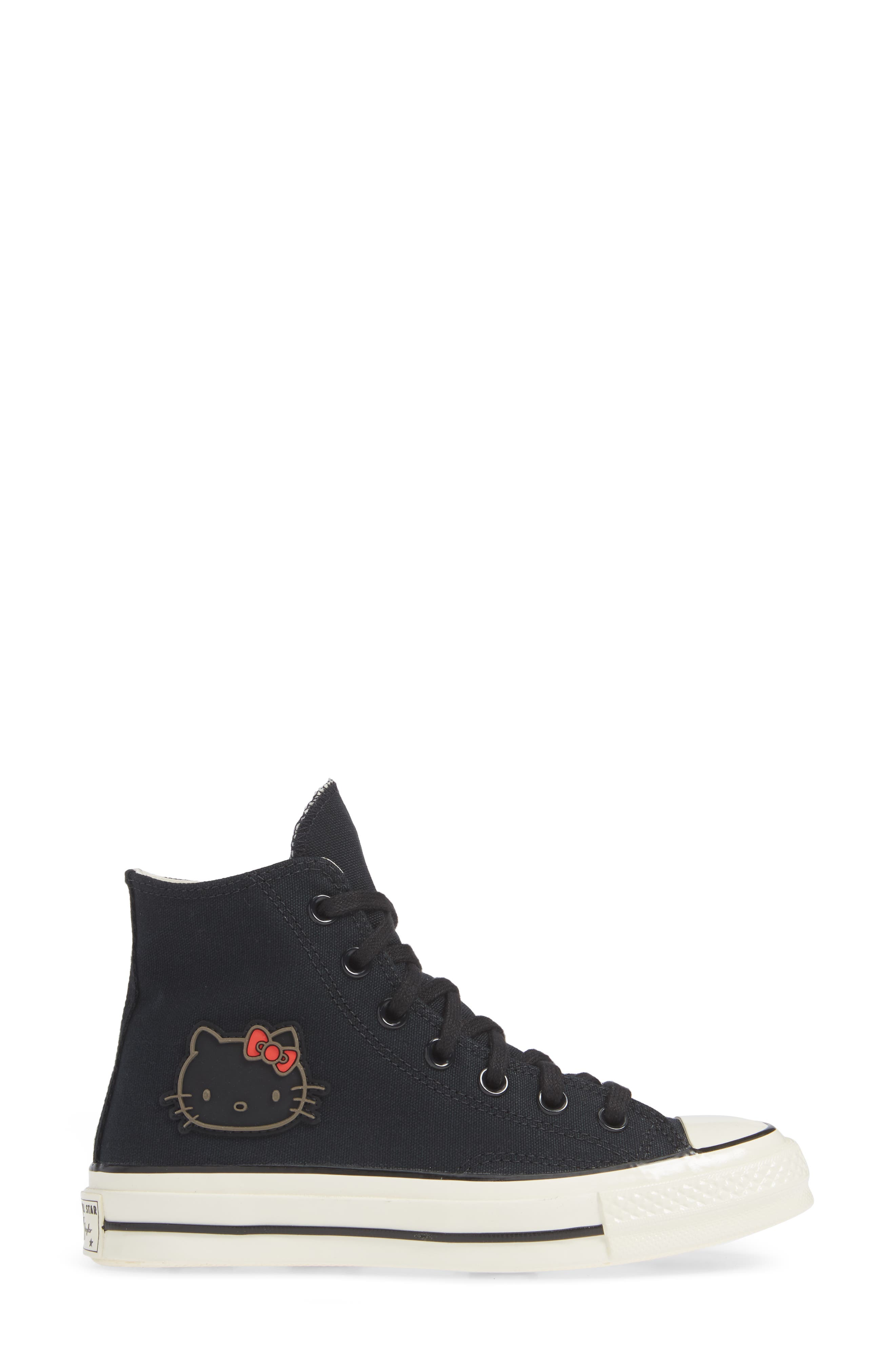 x Hello Kitty<sup>®</sup> Chuck Taylor<sup>®</sup> All Star<sup>®</sup> CT 70 High Top Sneaker,                             Alternate thumbnail 3, color,                             CONVERSE BLACK