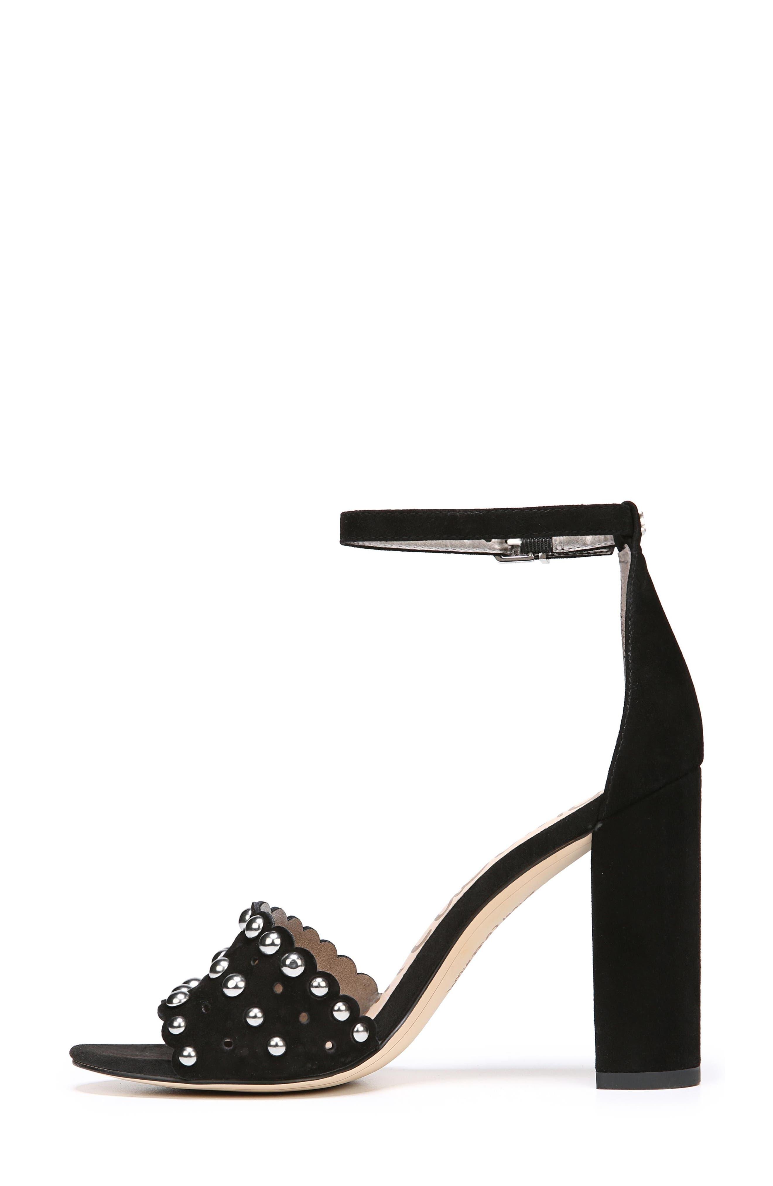 Yaria Studded Block Heel Sandal,                             Alternate thumbnail 3, color,                             001