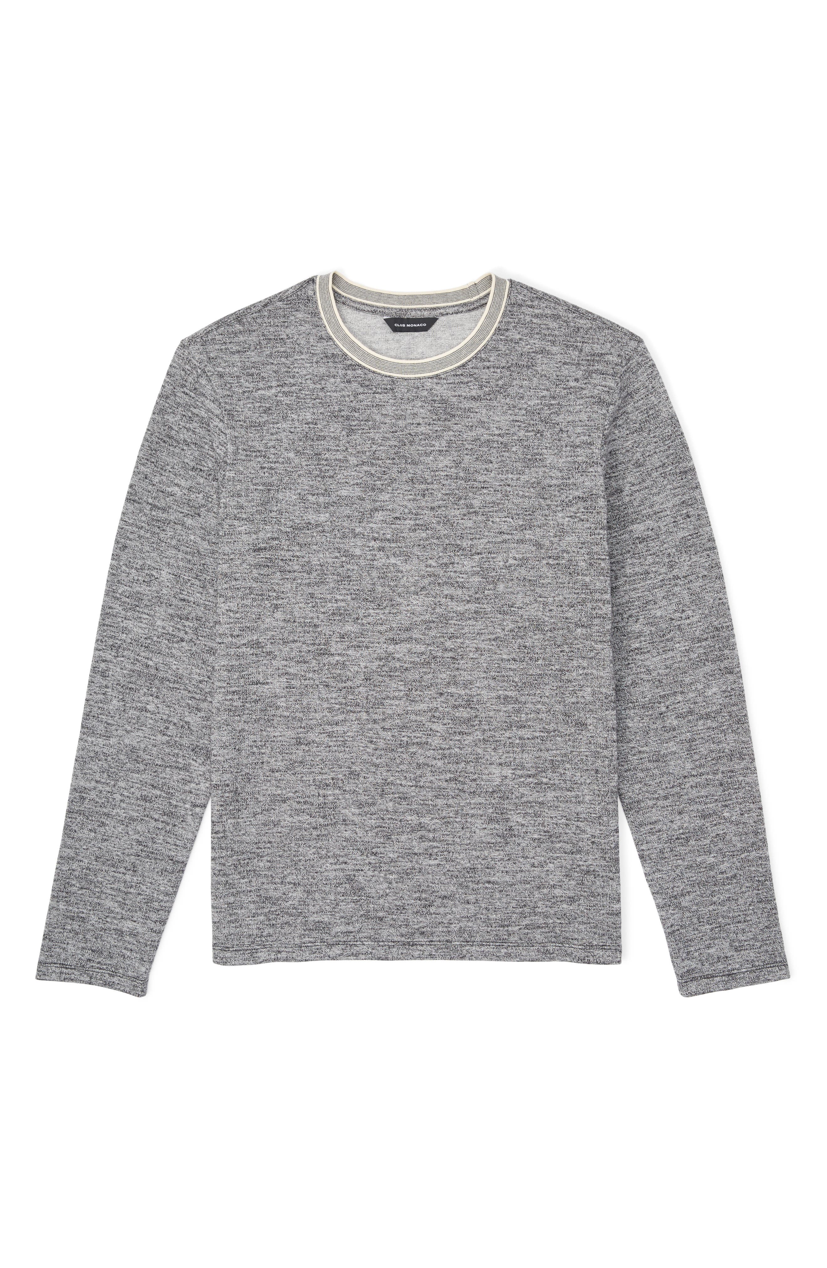 Marled Cotton Crewneck Shirt,                             Alternate thumbnail 3, color,                             CHARCOAL HEATHER