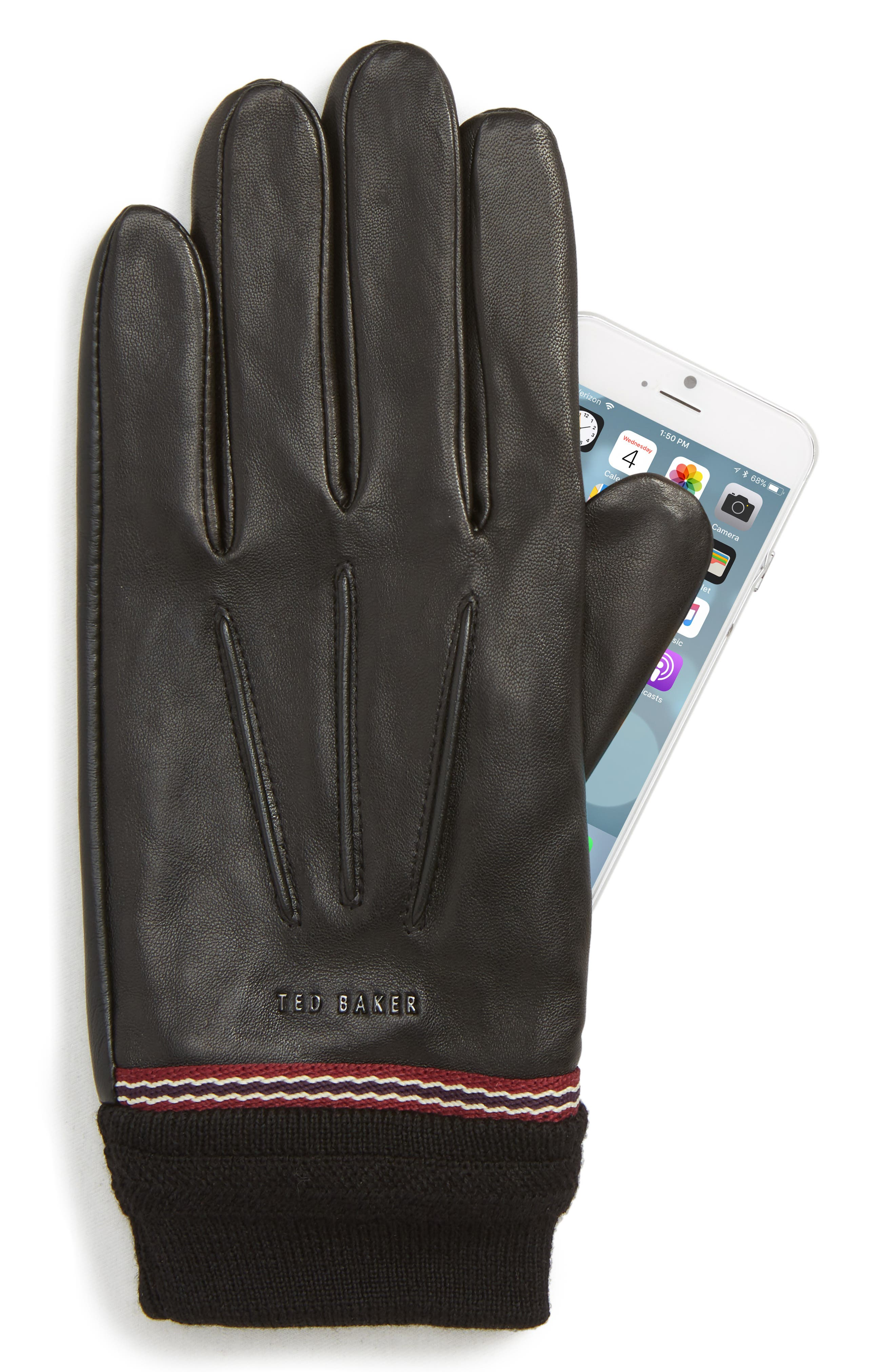 Cuffed Leather Touchscreen Gloves,                             Alternate thumbnail 2, color,                             001