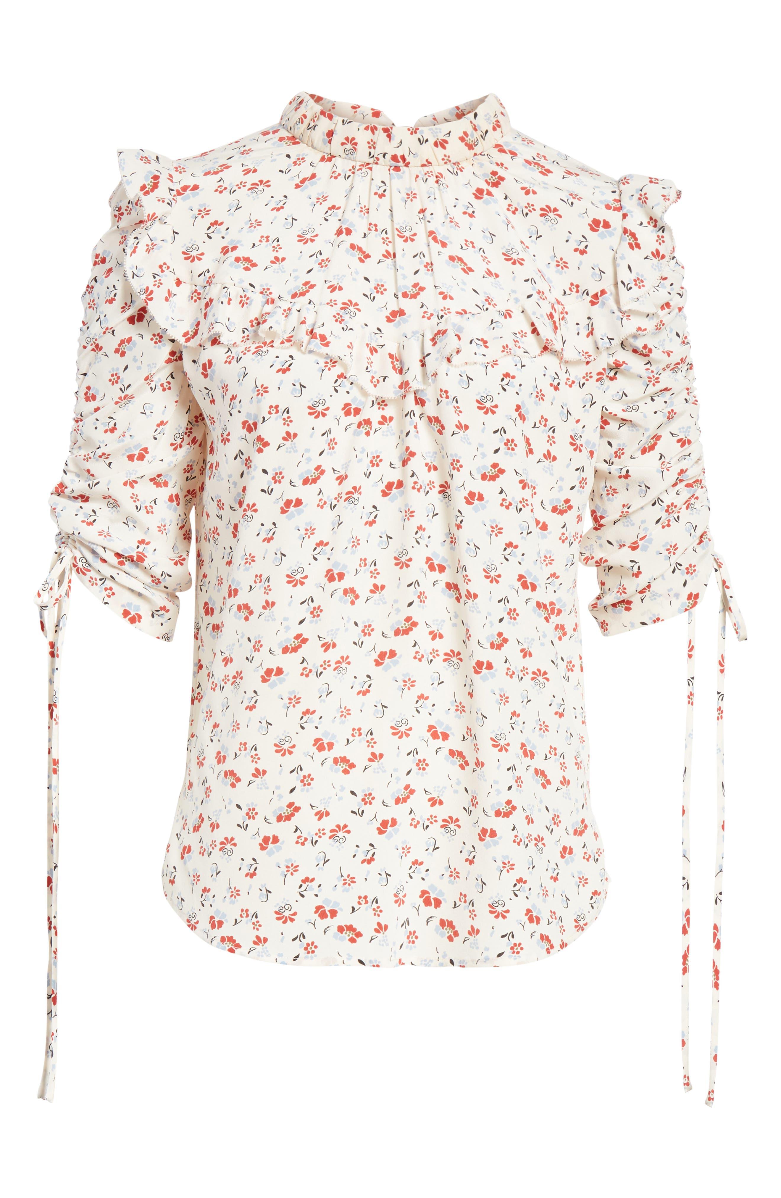 Howell Silk Blouse,                             Alternate thumbnail 6, color,                             WHITE MULTI