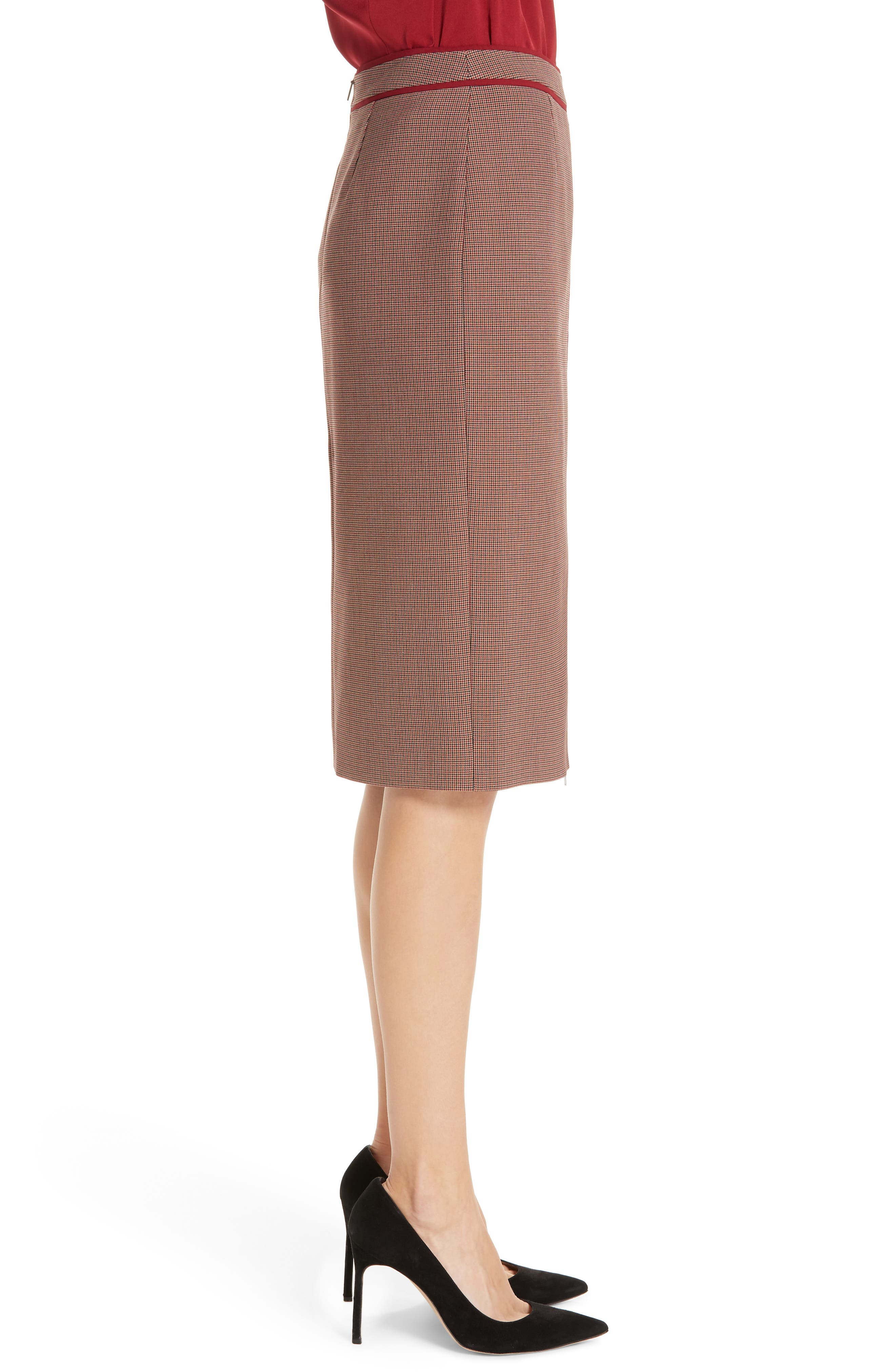 Voliviena Pencil Skirt,                             Alternate thumbnail 3, color,                             DARK RED CHECK