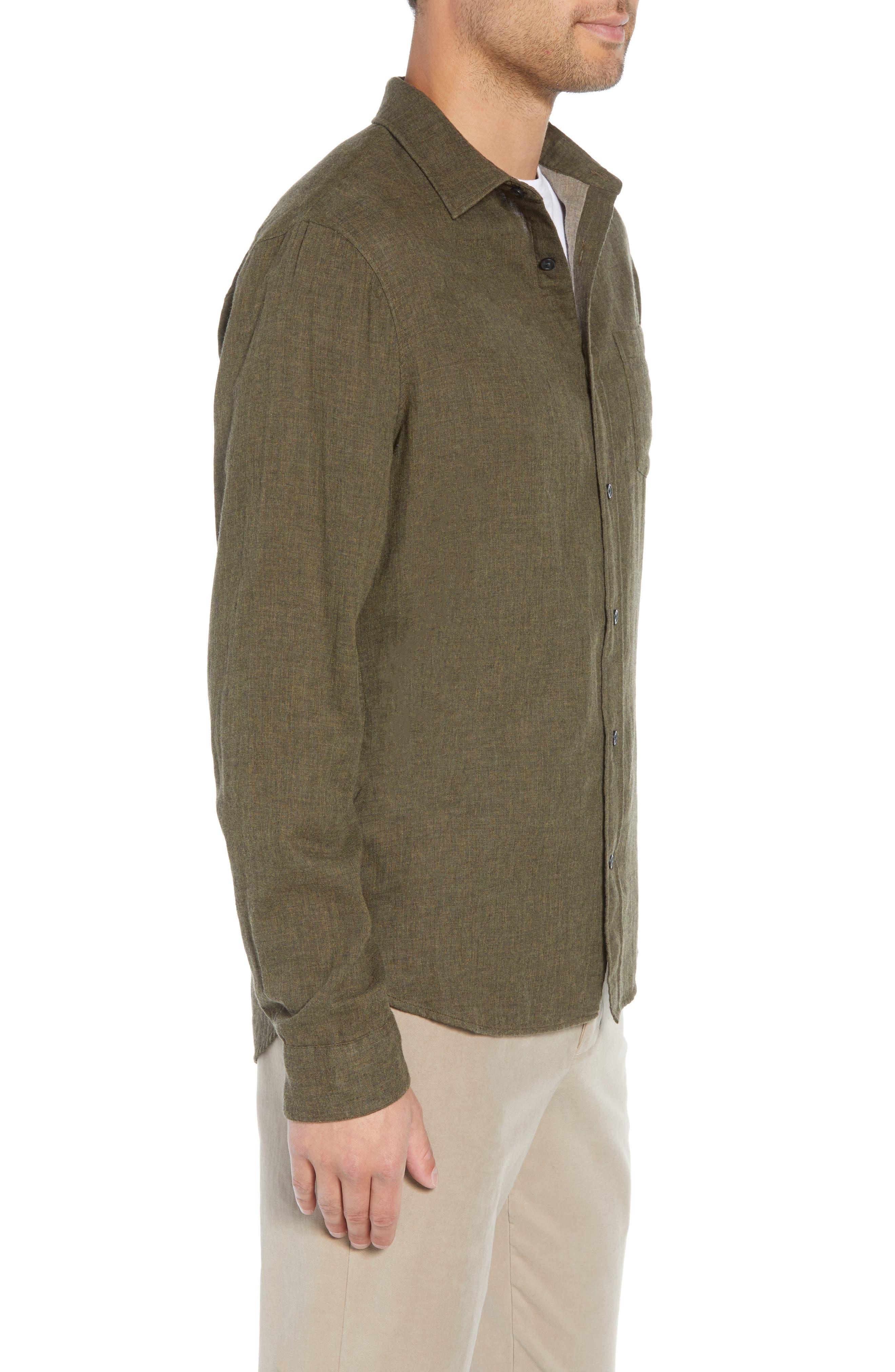 Classic Fit Double Knit Sport Shirt,                             Alternate thumbnail 4, color,                             H OLIVE