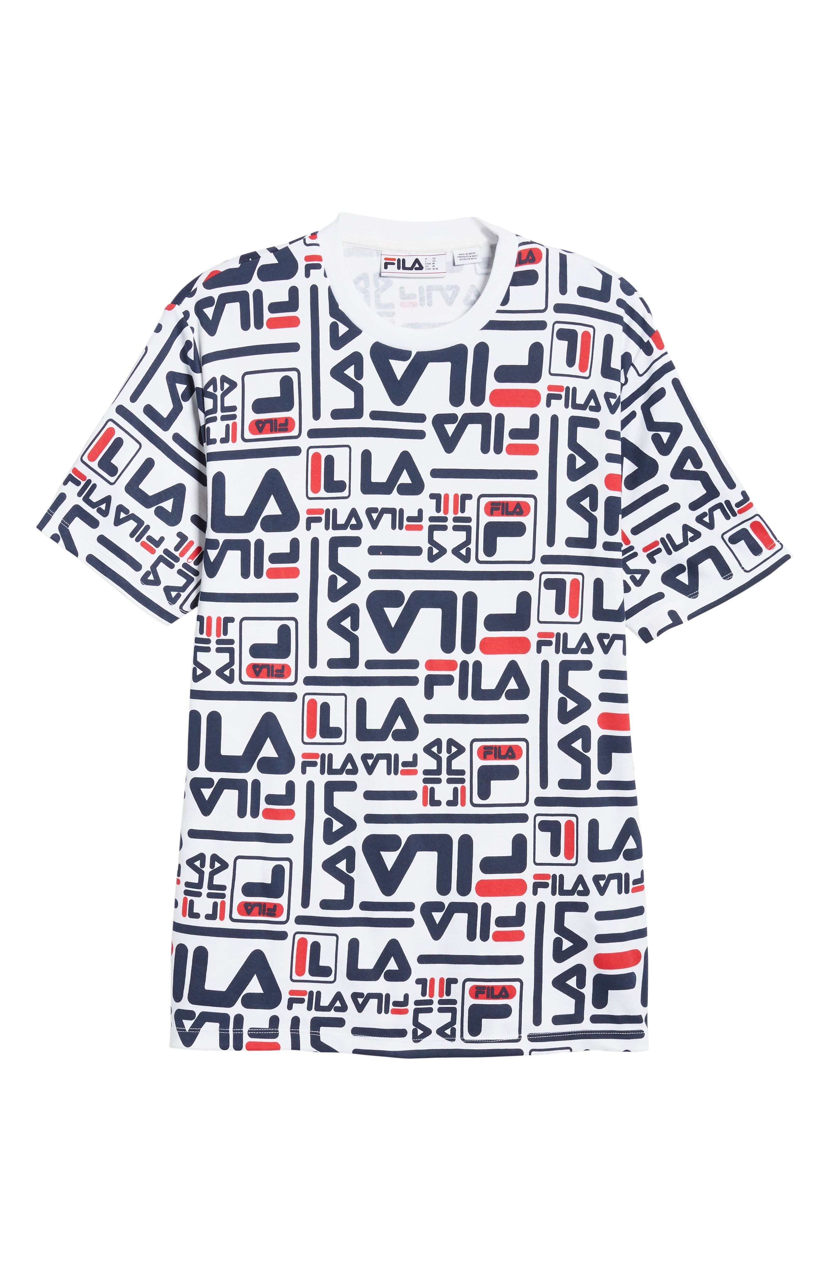 Charlie Allover Print T-Shirt,                             Alternate thumbnail 6, color,                             WHITE/ PEACOAT/ CHINESE RED
