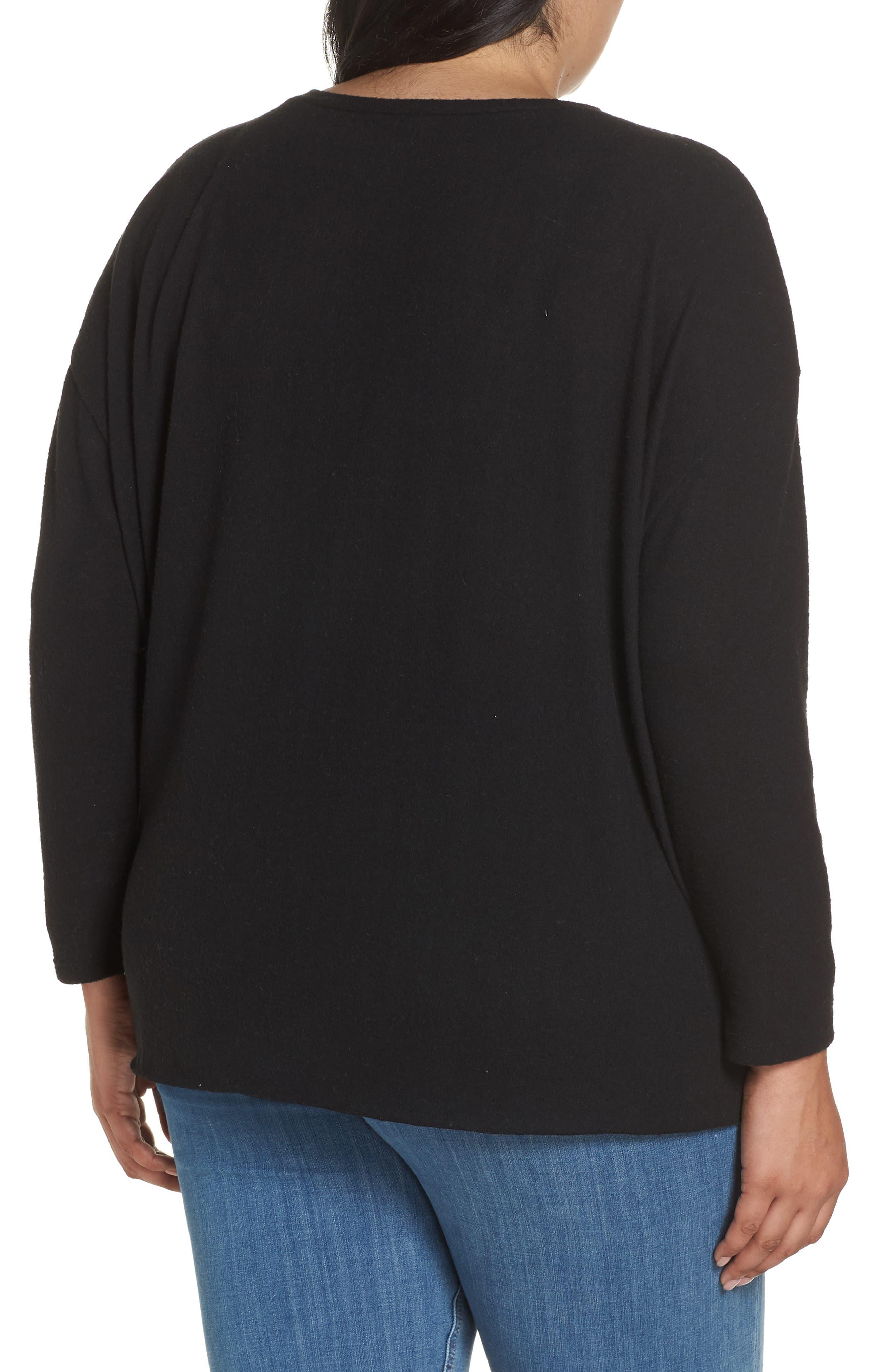 Fuzzy Tie Front Sweatshirt,                             Alternate thumbnail 2, color,                             BLACK