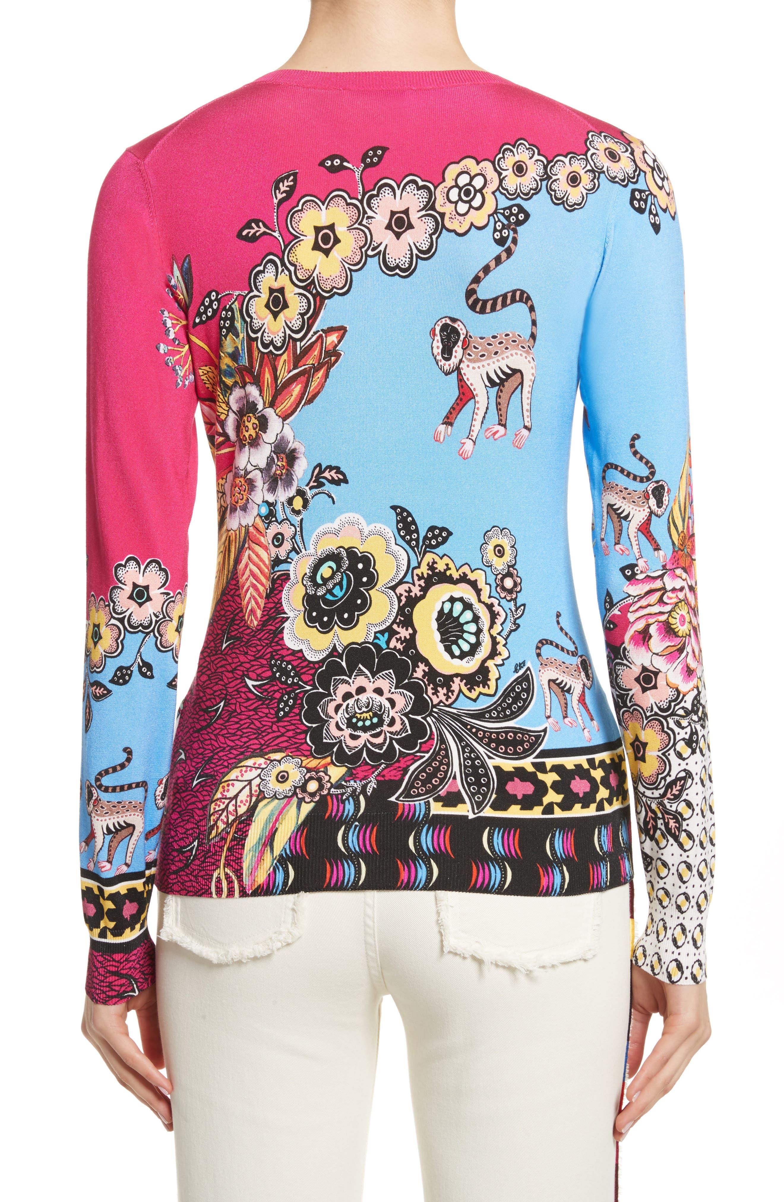 Animal Jungle Stretch Silk Sweater,                             Alternate thumbnail 2, color,                             650