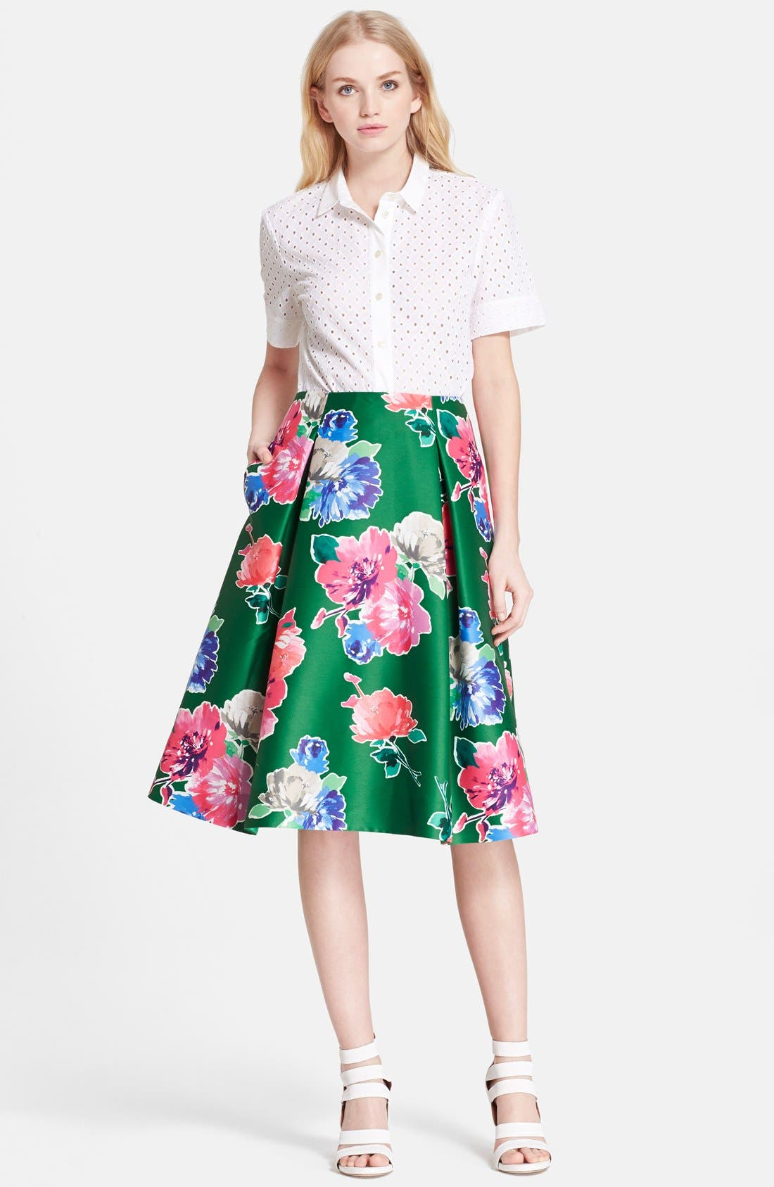 'lorella' floral print a-line skirt,                             Alternate thumbnail 3, color,                             313