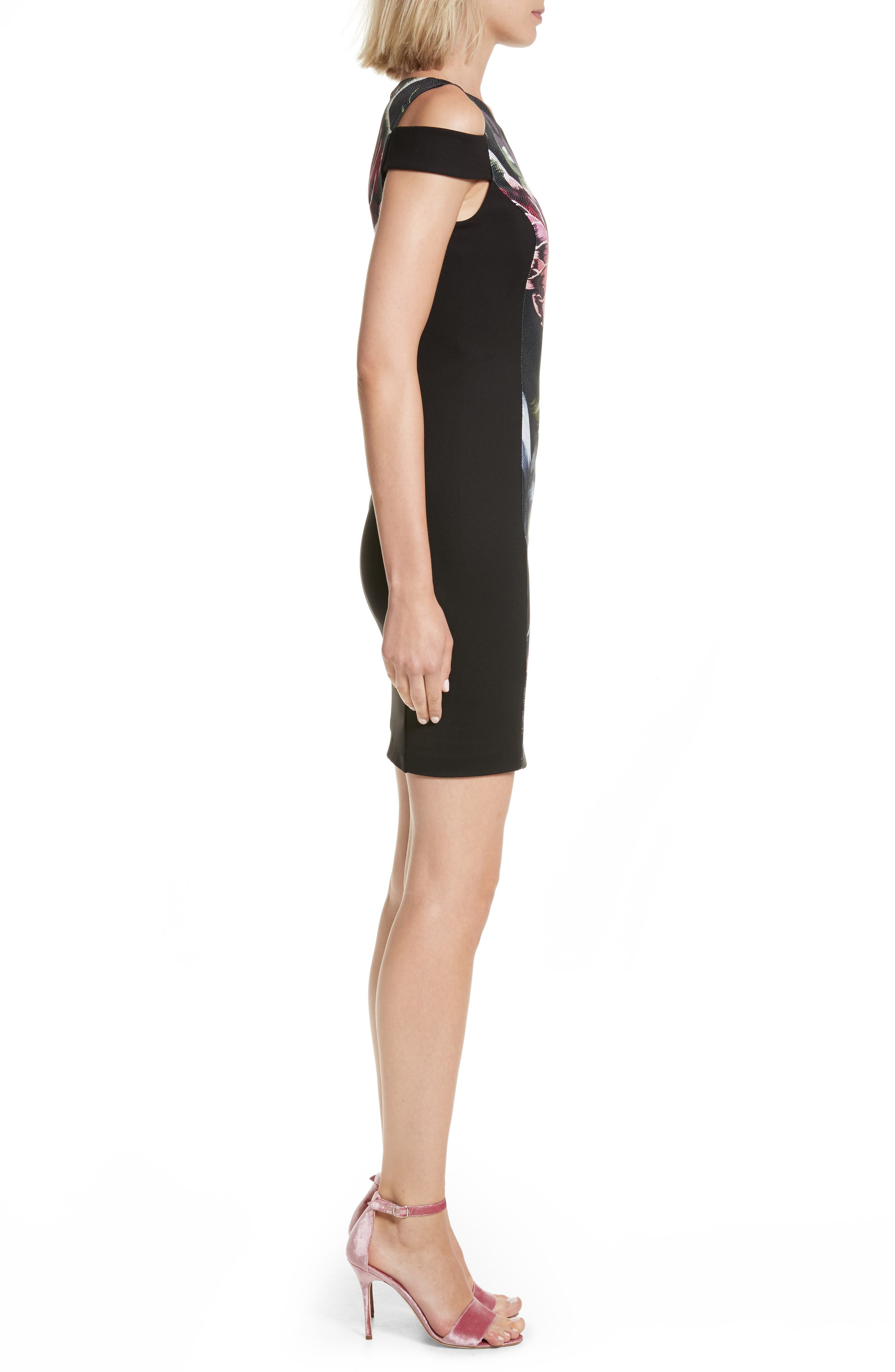 Leeash Eden Body Con Dress,                             Alternate thumbnail 3, color,                             001